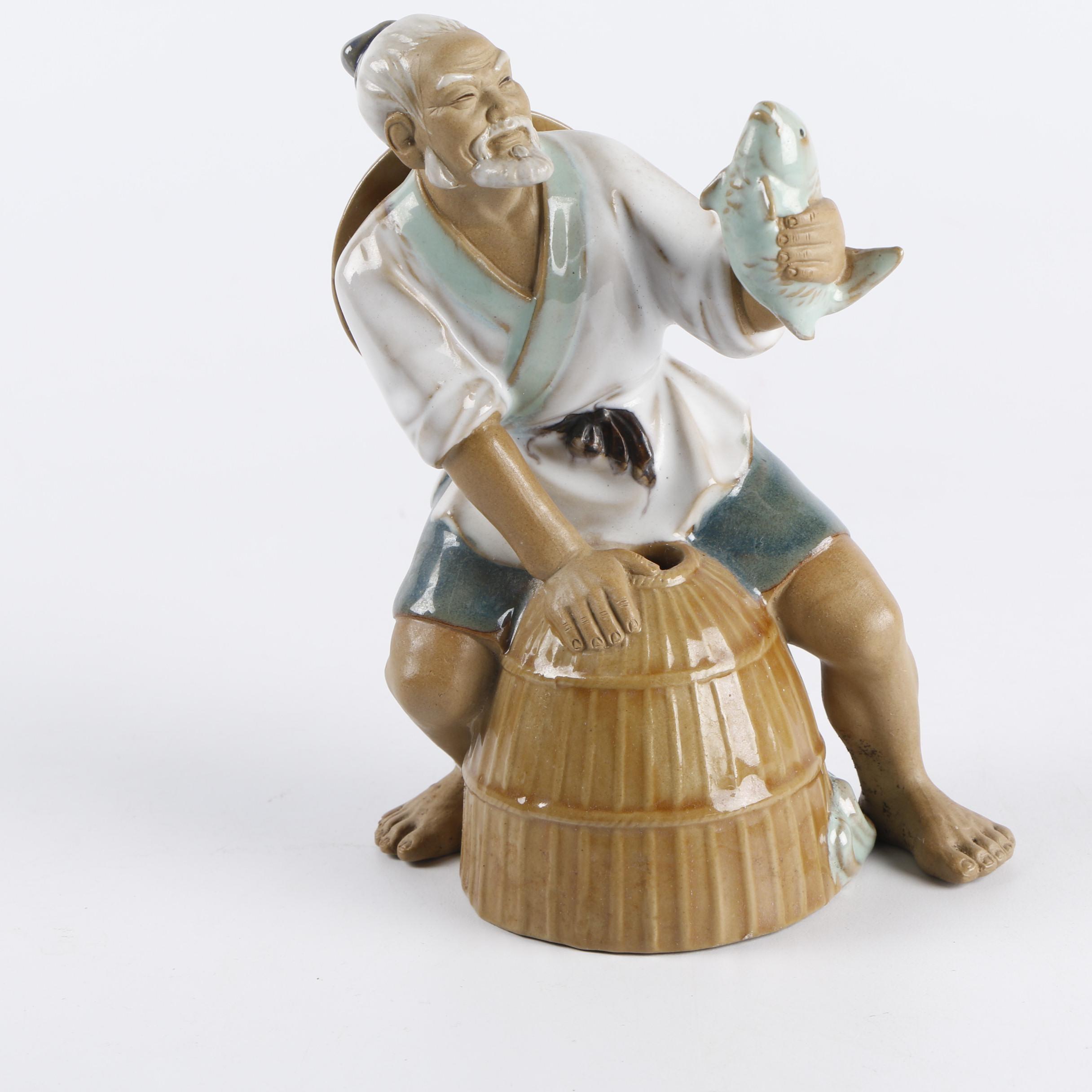 Chinese Shiwan Style Fisherman Figurine