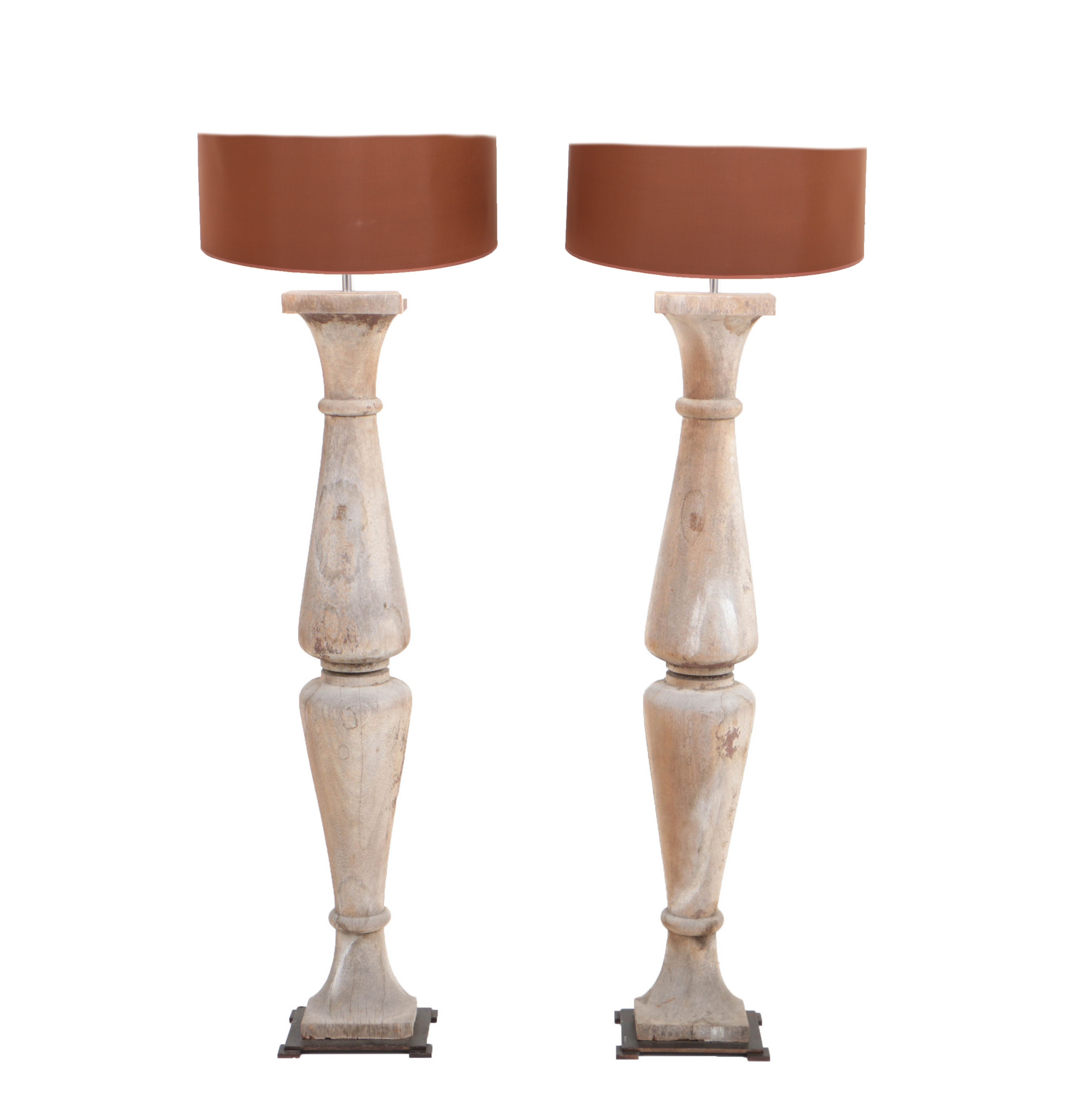 Weathered Split Baluster Wood Floor Lamps