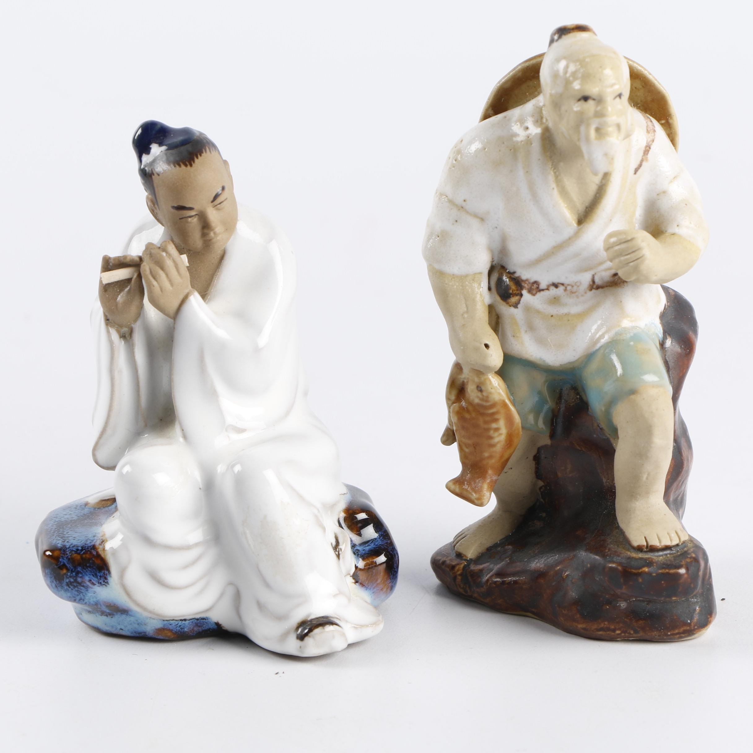 Chinese Shiwan Style Fisherman and Flutist Figurines