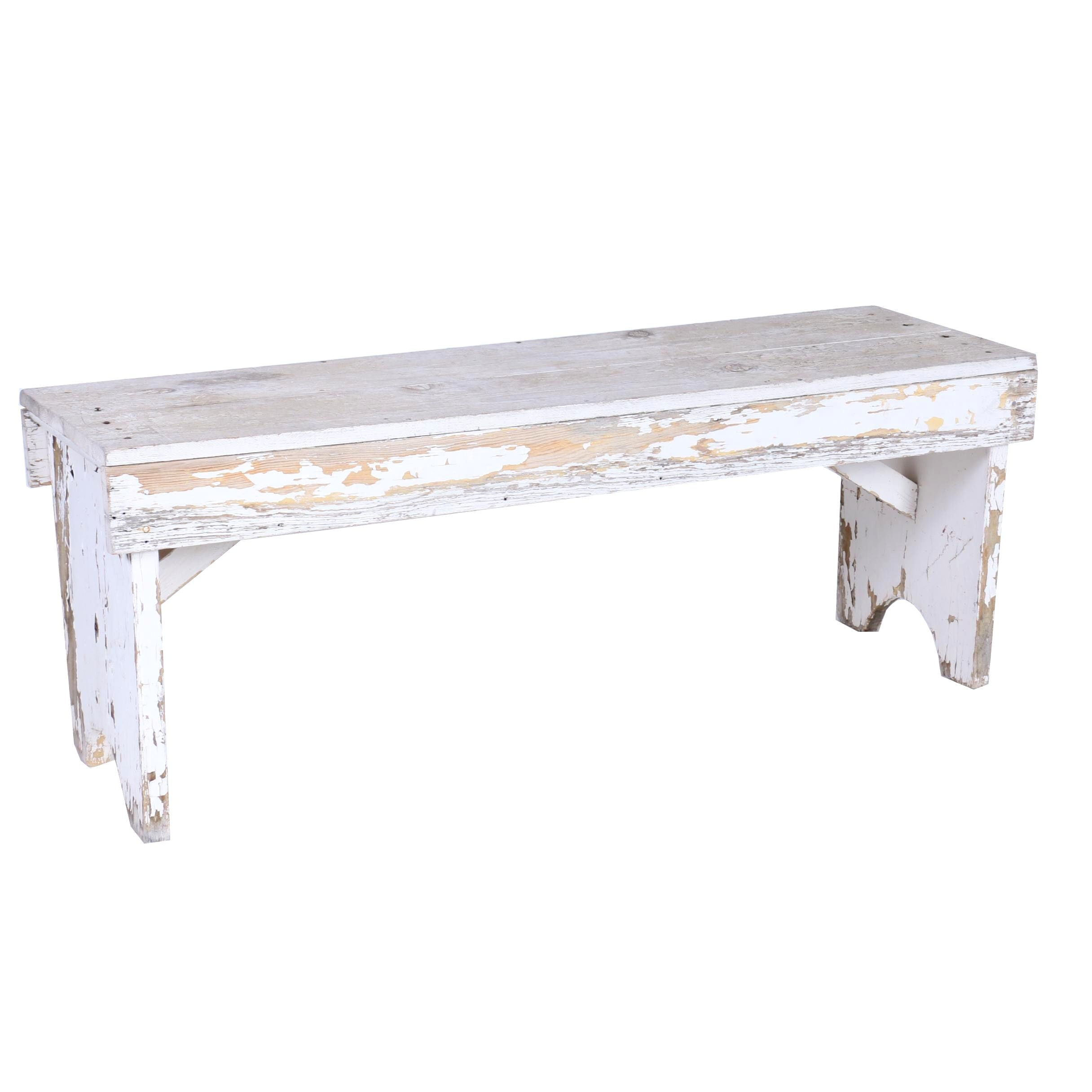 Vintage Country Bench in White Paint