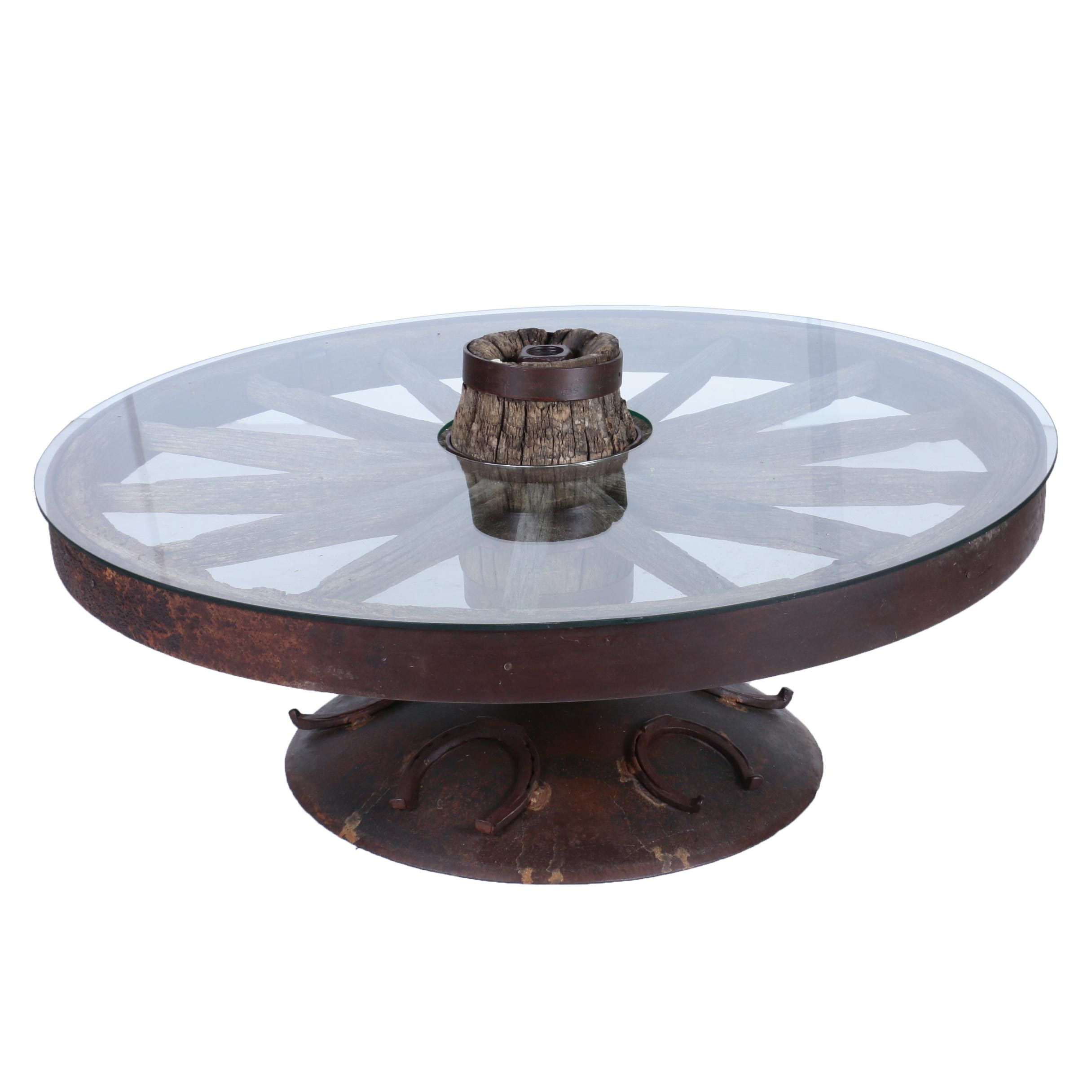 Custom-Made Coffee Table with Glass Top and Antique Iron and Wood Wagon Wheel