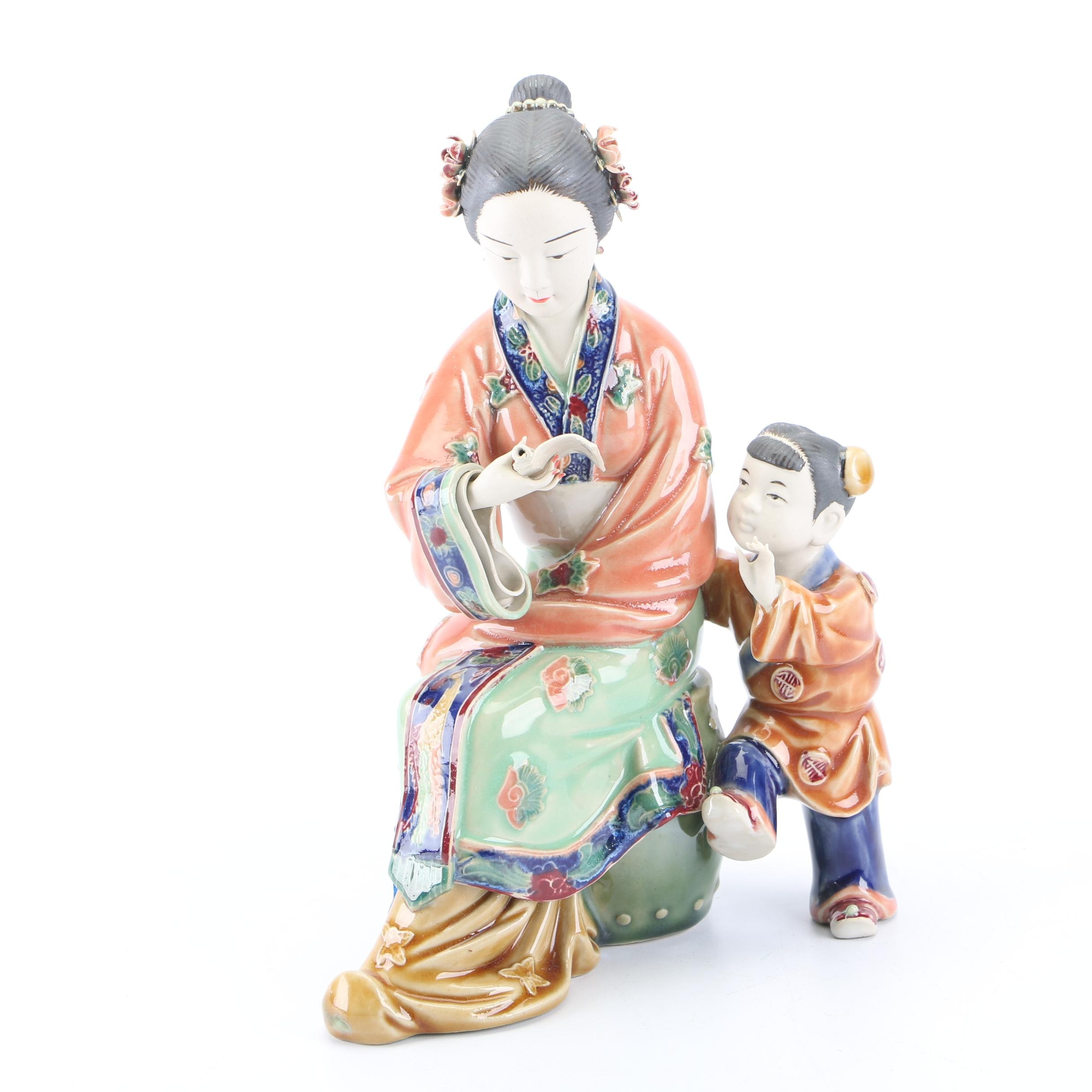 Chinese Shiwan Style Mother and Child Ceramic Figurine