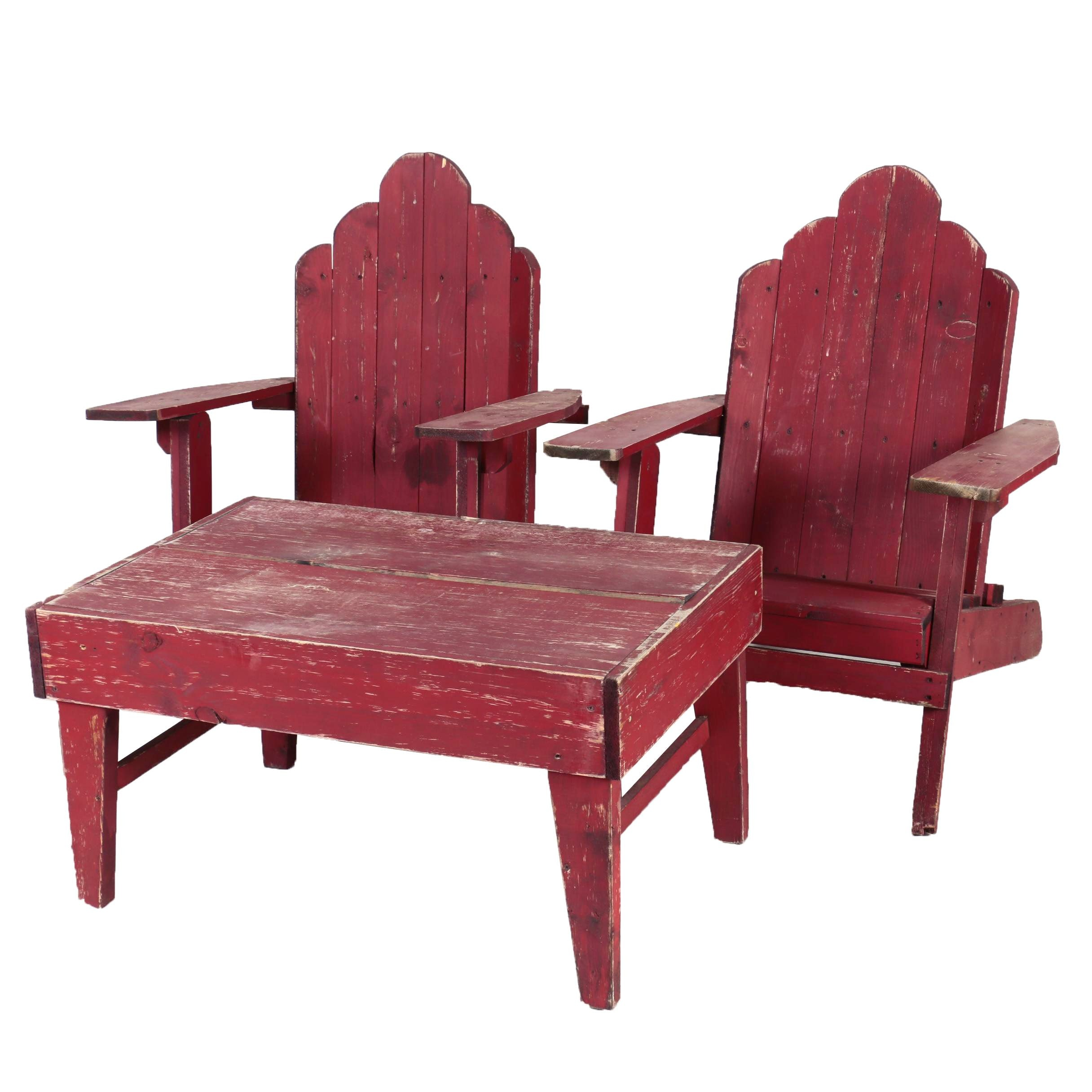 Vintage Adirondack Style Three-Piece Patio Furniture Set in Red Paint