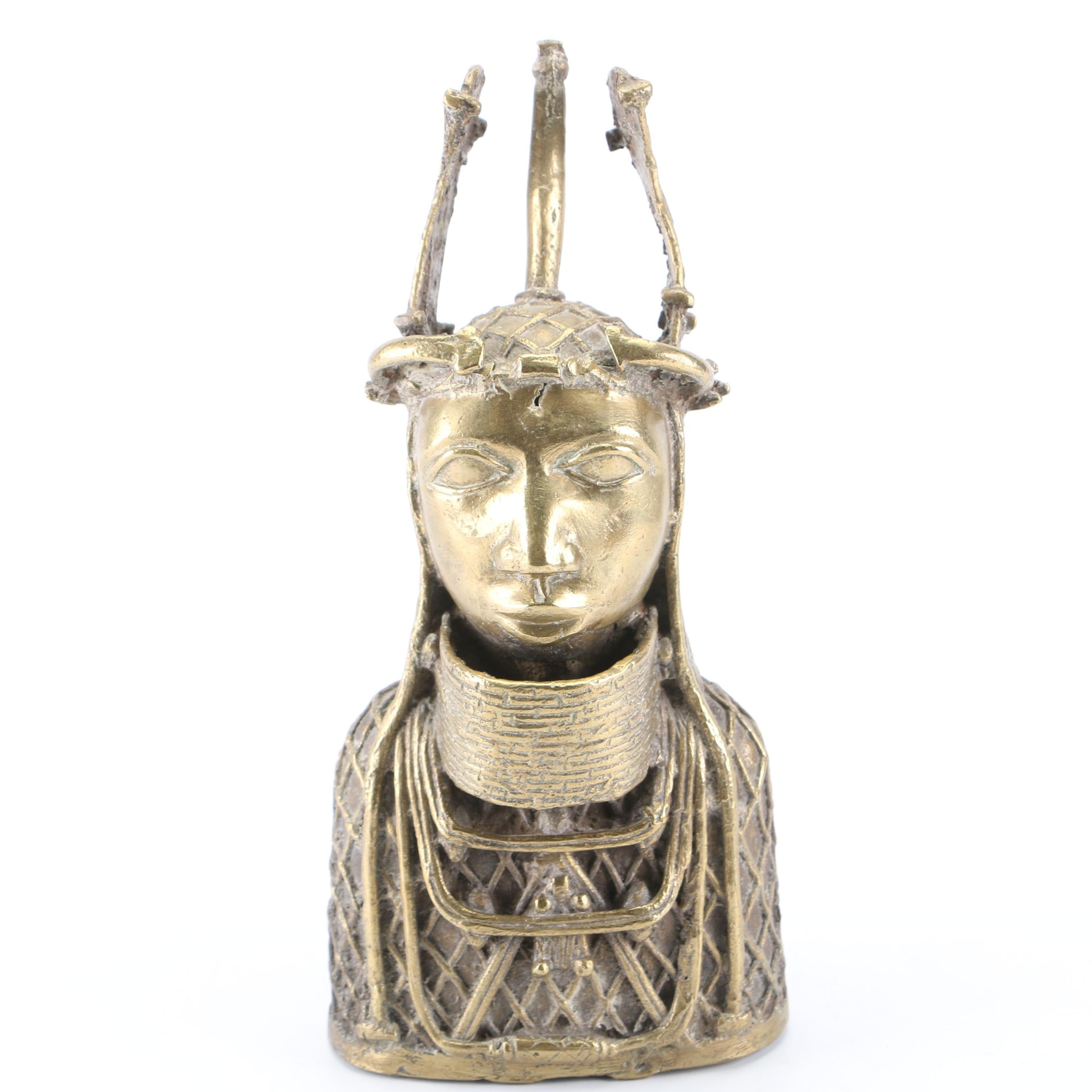 African Oba of Benin Brass Bust