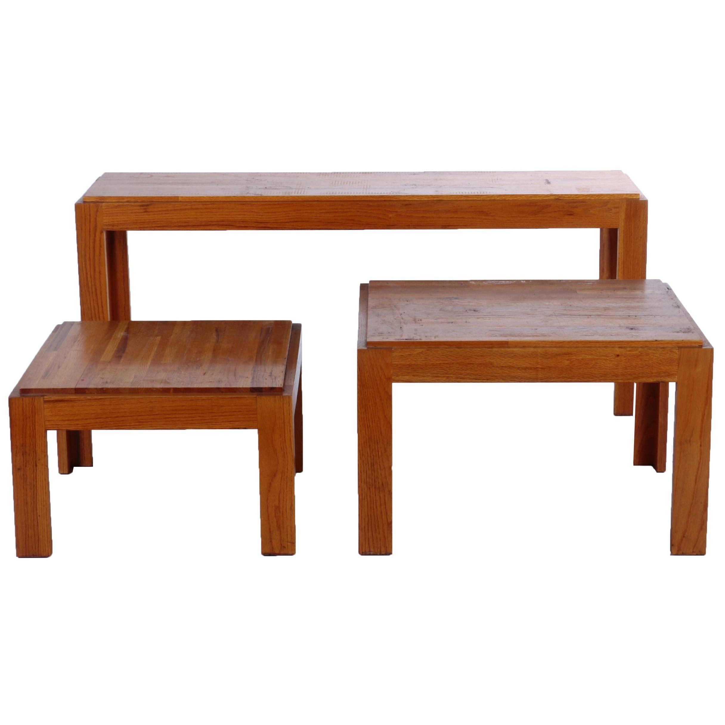 Vintage Oak Side Tables with Matching Console Table