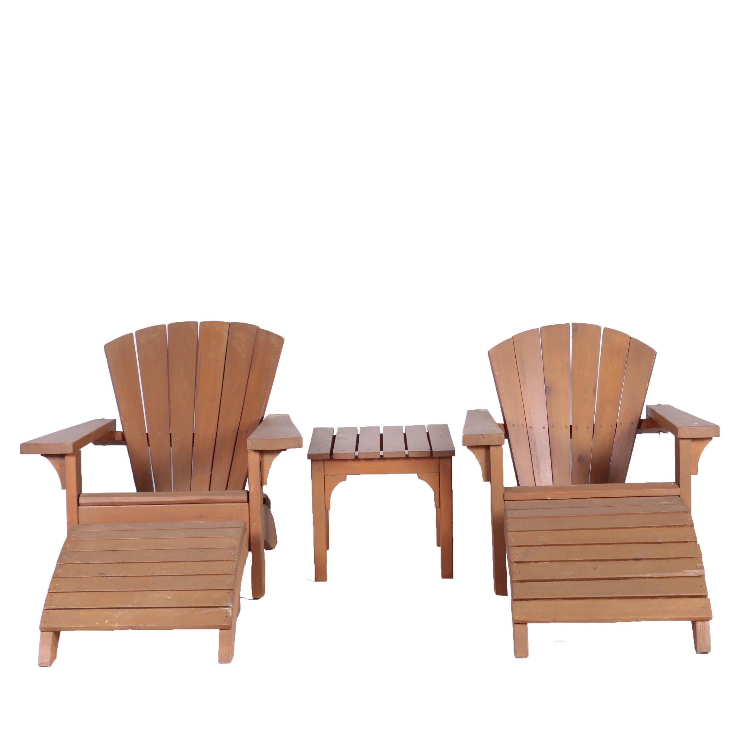 Vintage Adirondack Style Five-Piece Patio Furniture Set