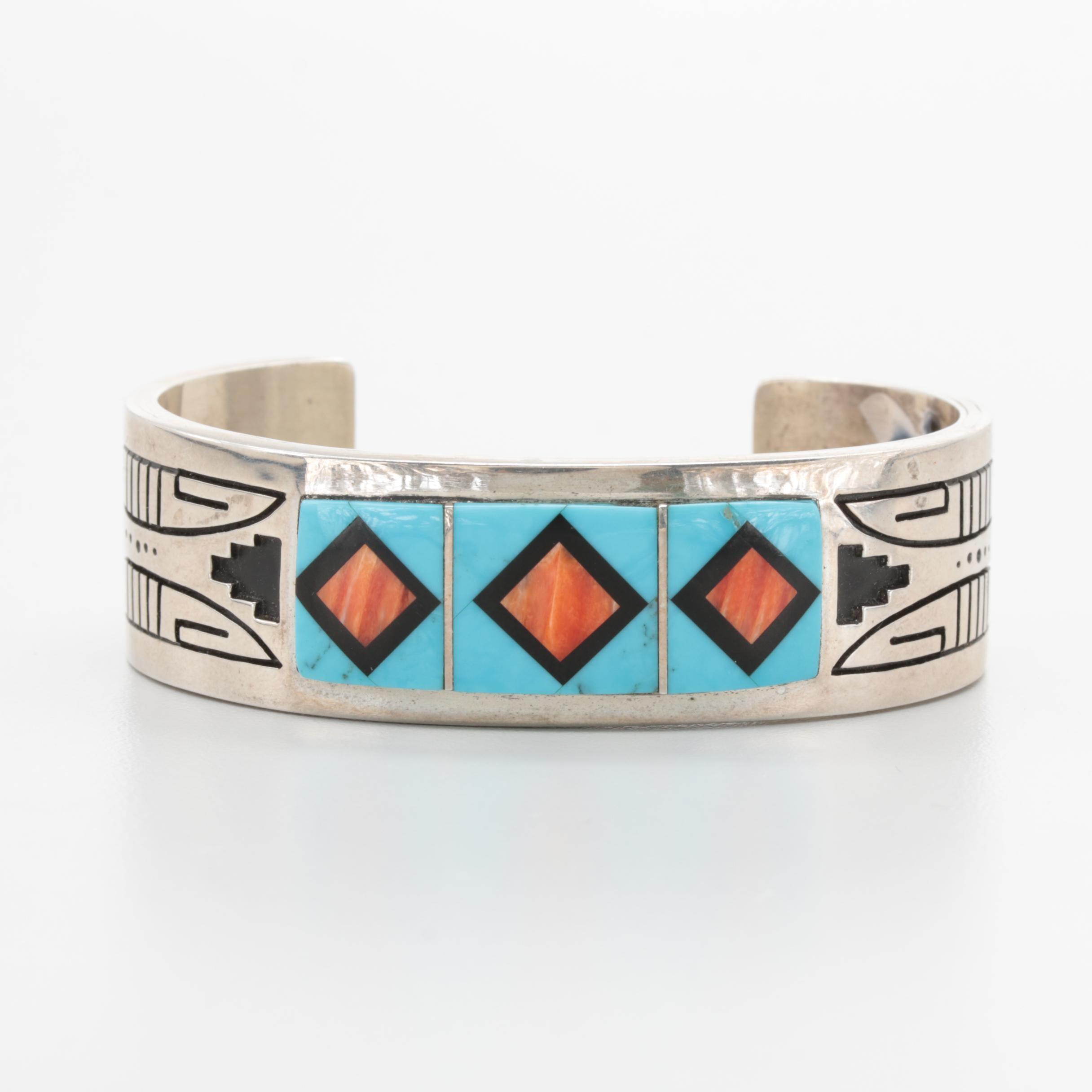 Navajo Diné Sterling Silver Gemstone Bracelet