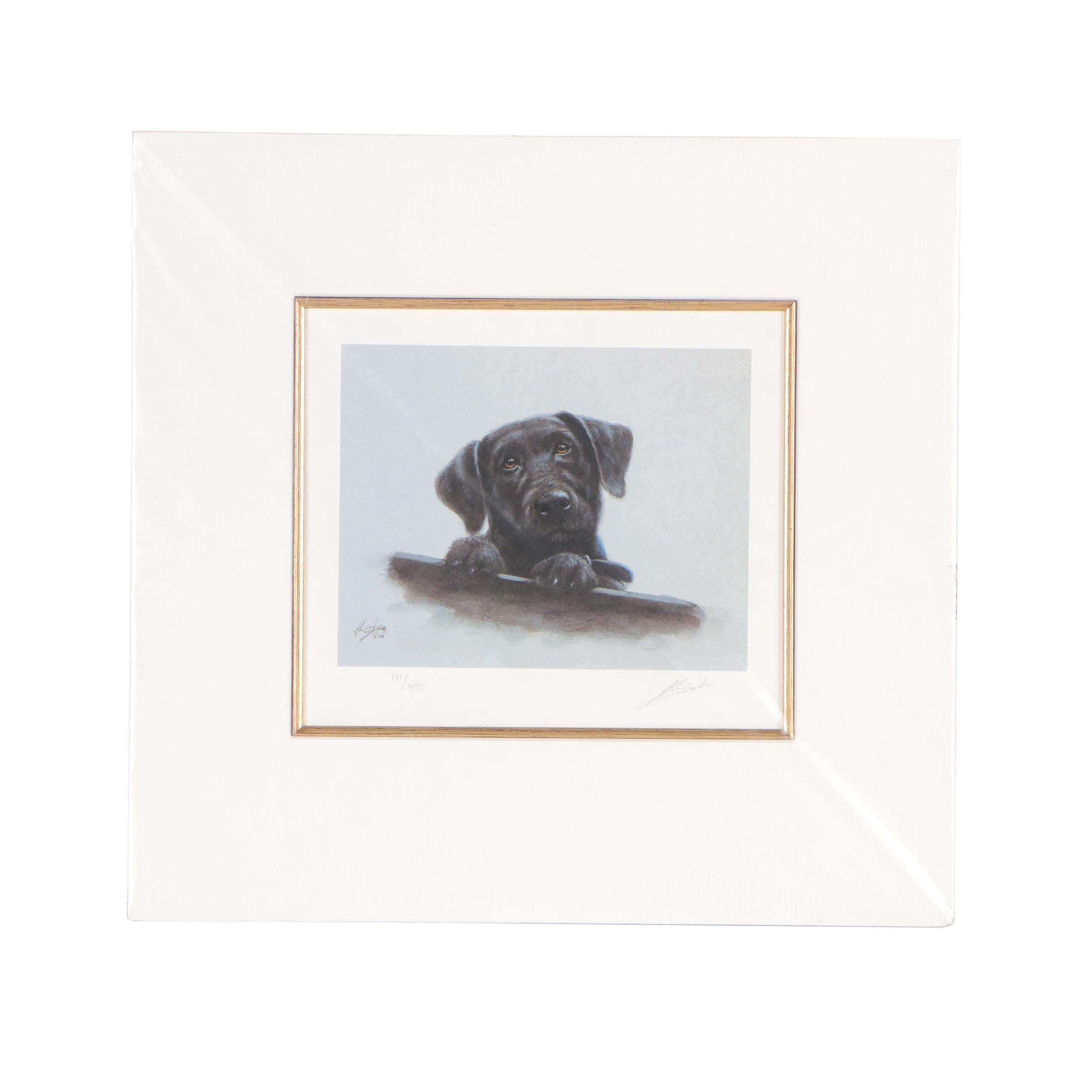 "John Silver Limited Edition Offset Lithograph ""Black Lab Pup"""