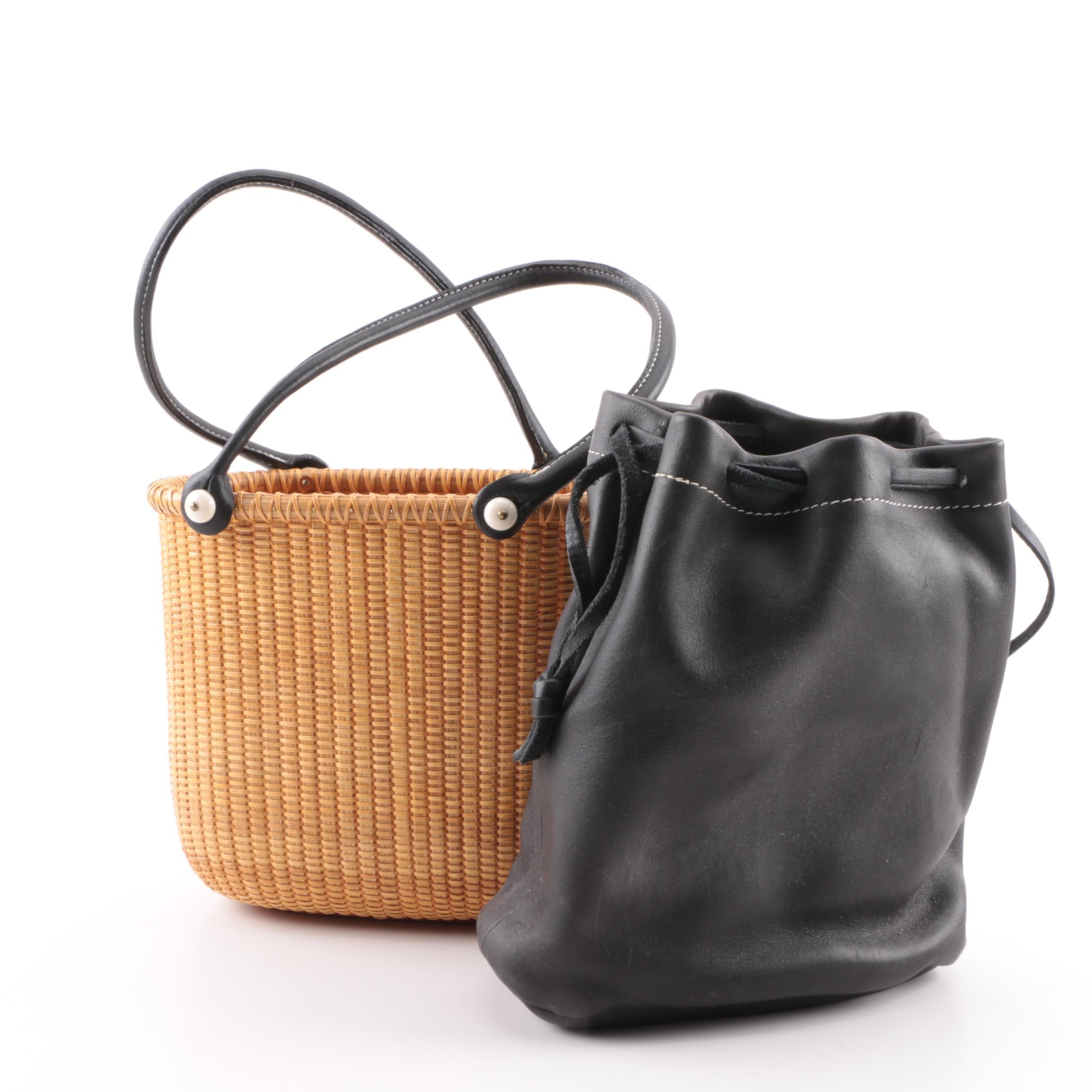 Karen Bullock Nantucket Woven Raffia Basket Bag with Leather Liner