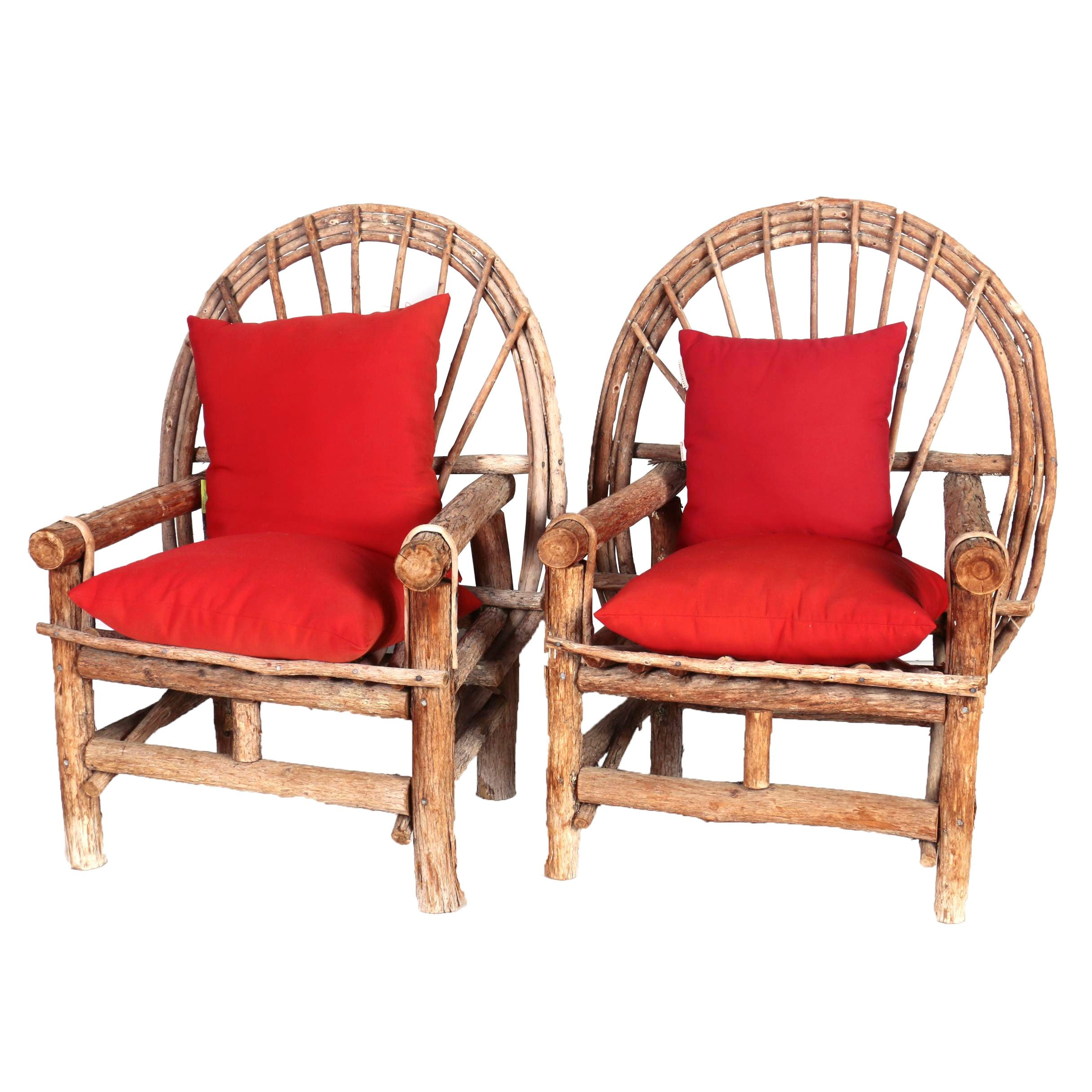 Pair of Handcrafted Bent Twig Patio Armchairs