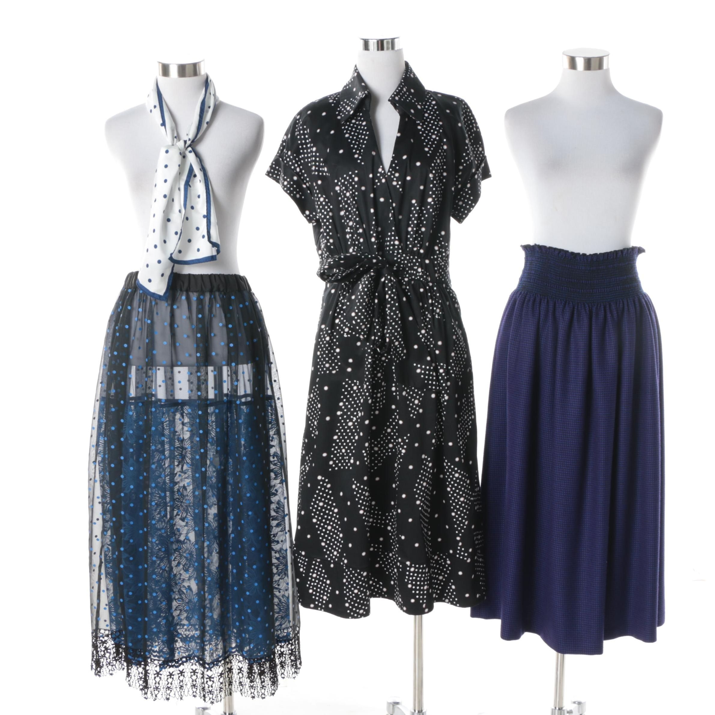 Donna Ricco Dress with Other Skirts and Scarf