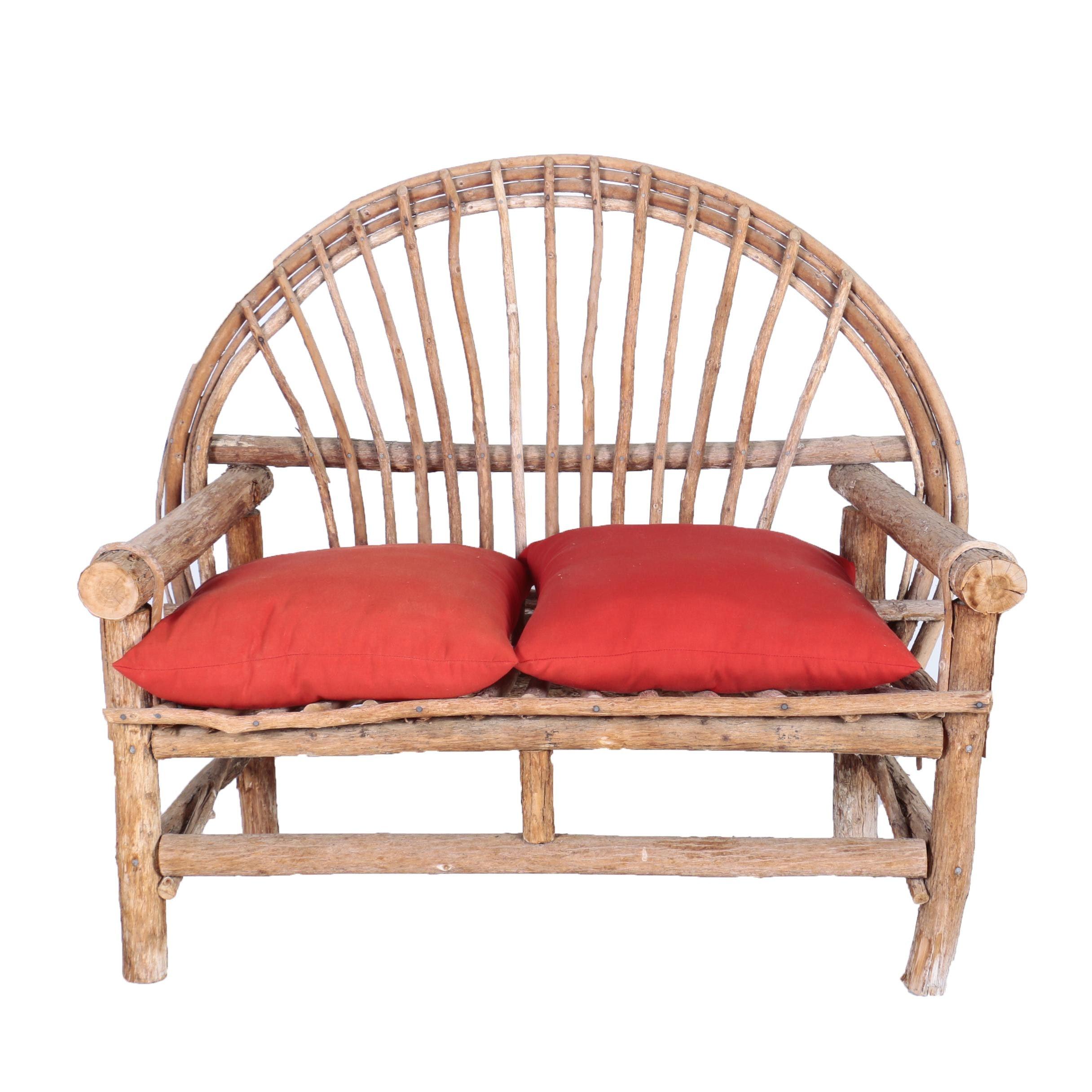 Handcrafted Bent Twig Patio Settee