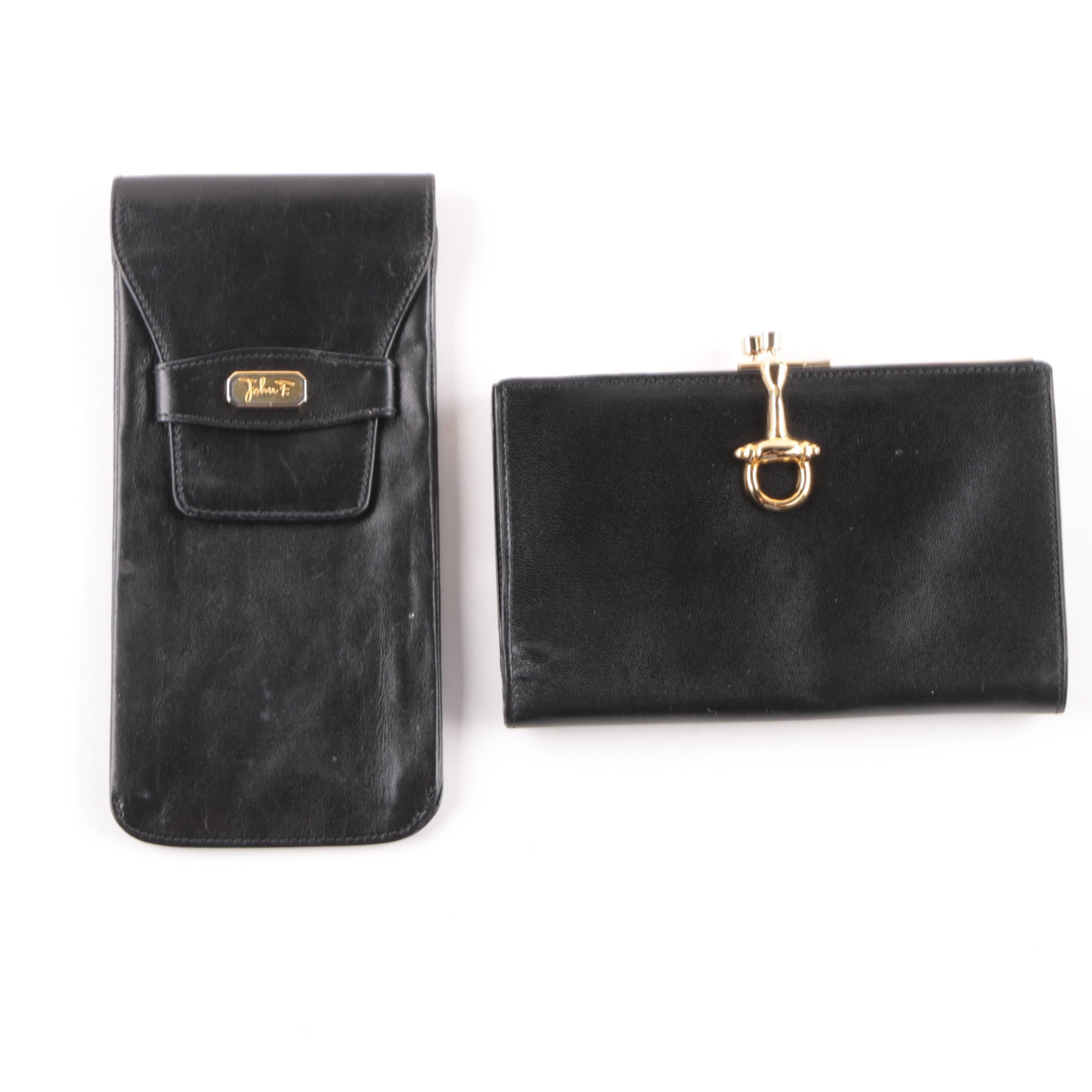 Vintage John F Italian Black Leather Wallet and Case