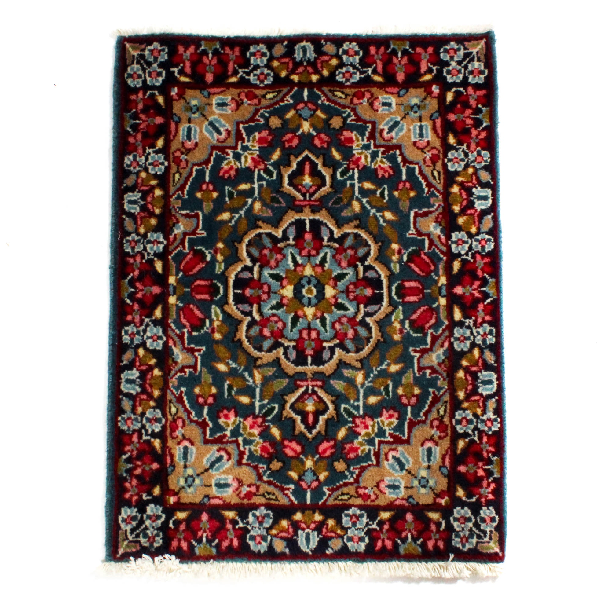 1'11 x 2'9 Semi-Antique Fine Hand-Knotted Persian Lavar Kerman Rug