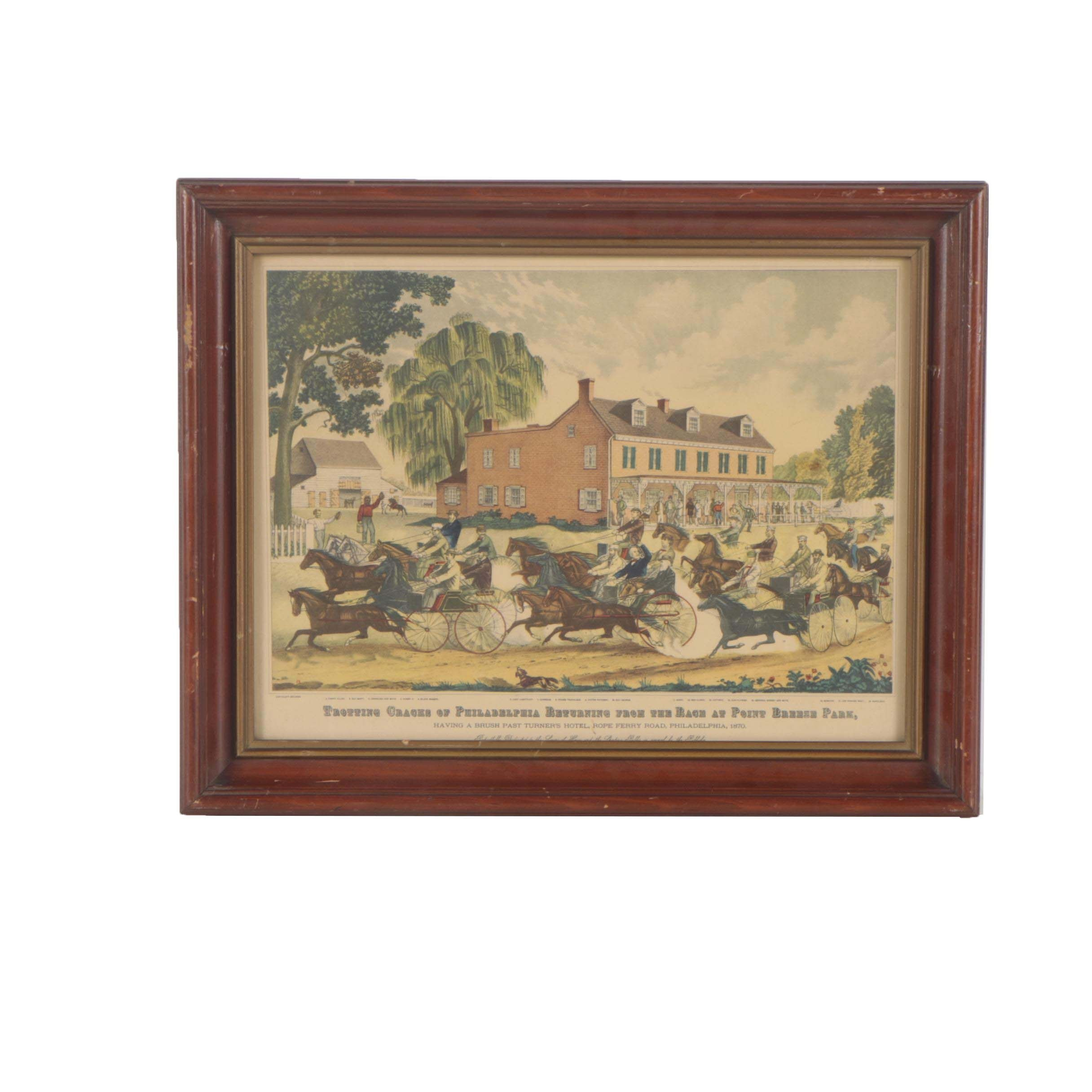 Philadelphia Carriage Race Offset Lithograph
