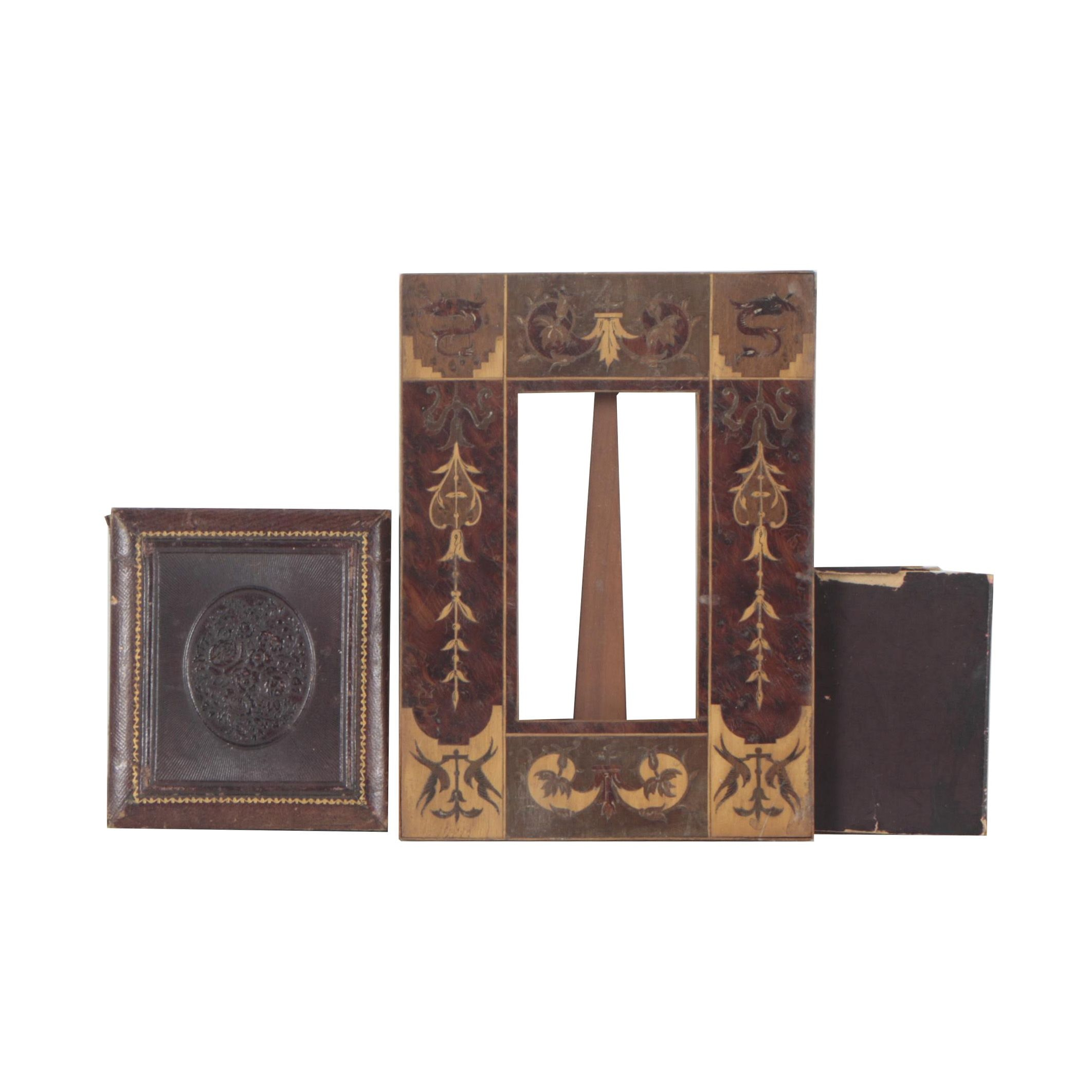 Vintage Wooden Inlaid Frame with Miniature Book and Leather Case