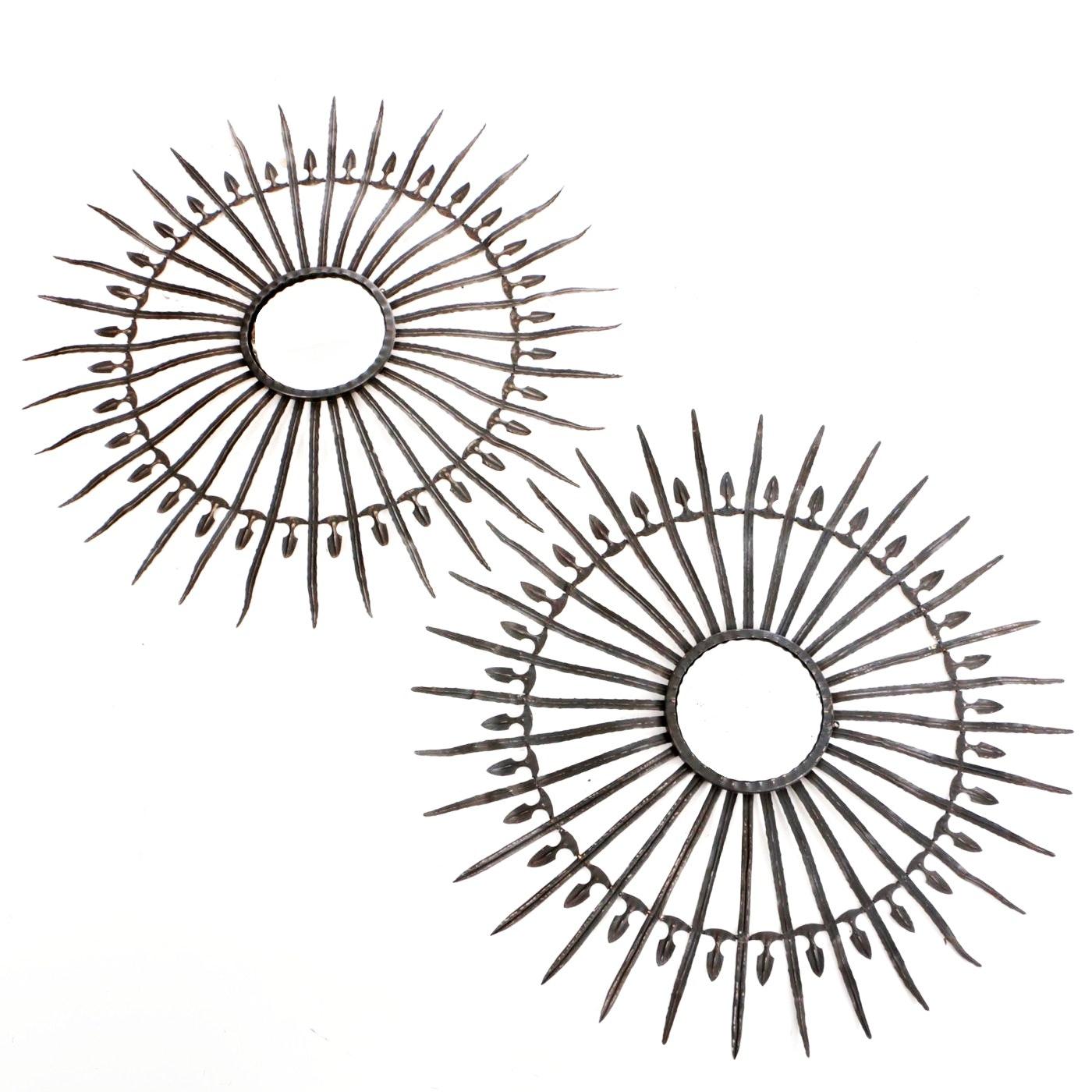 Circa 1950 French Sunburst Mirrors