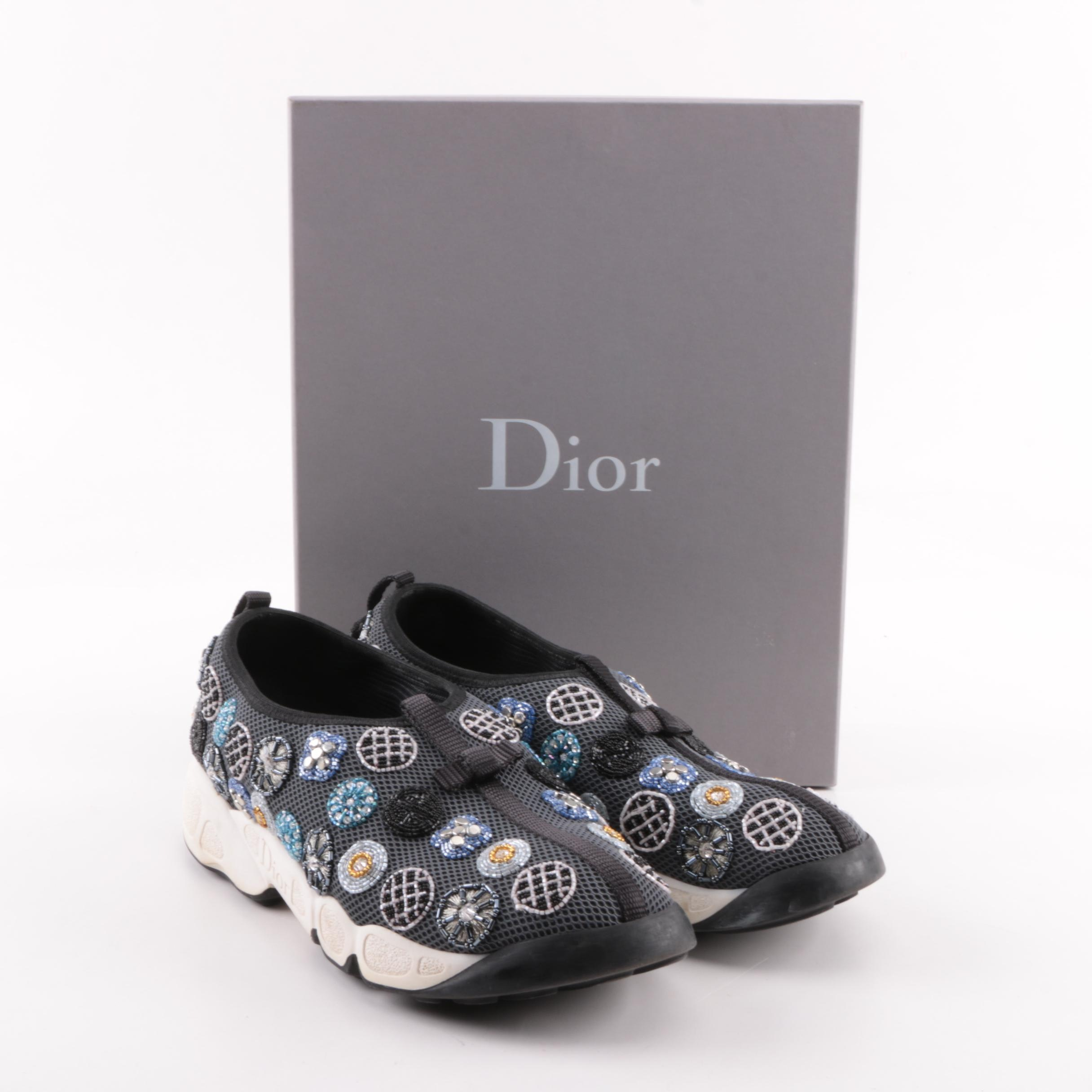 Women's Christian Dior Fusion Embellished Slip-On Sneakers