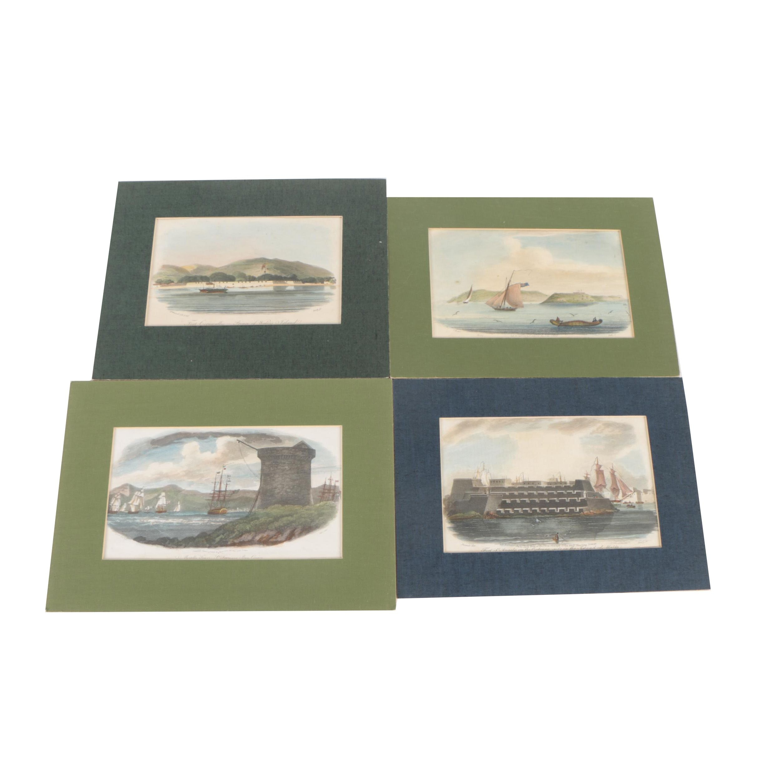 Hand Colored Nautical Etchings with Aquatint
