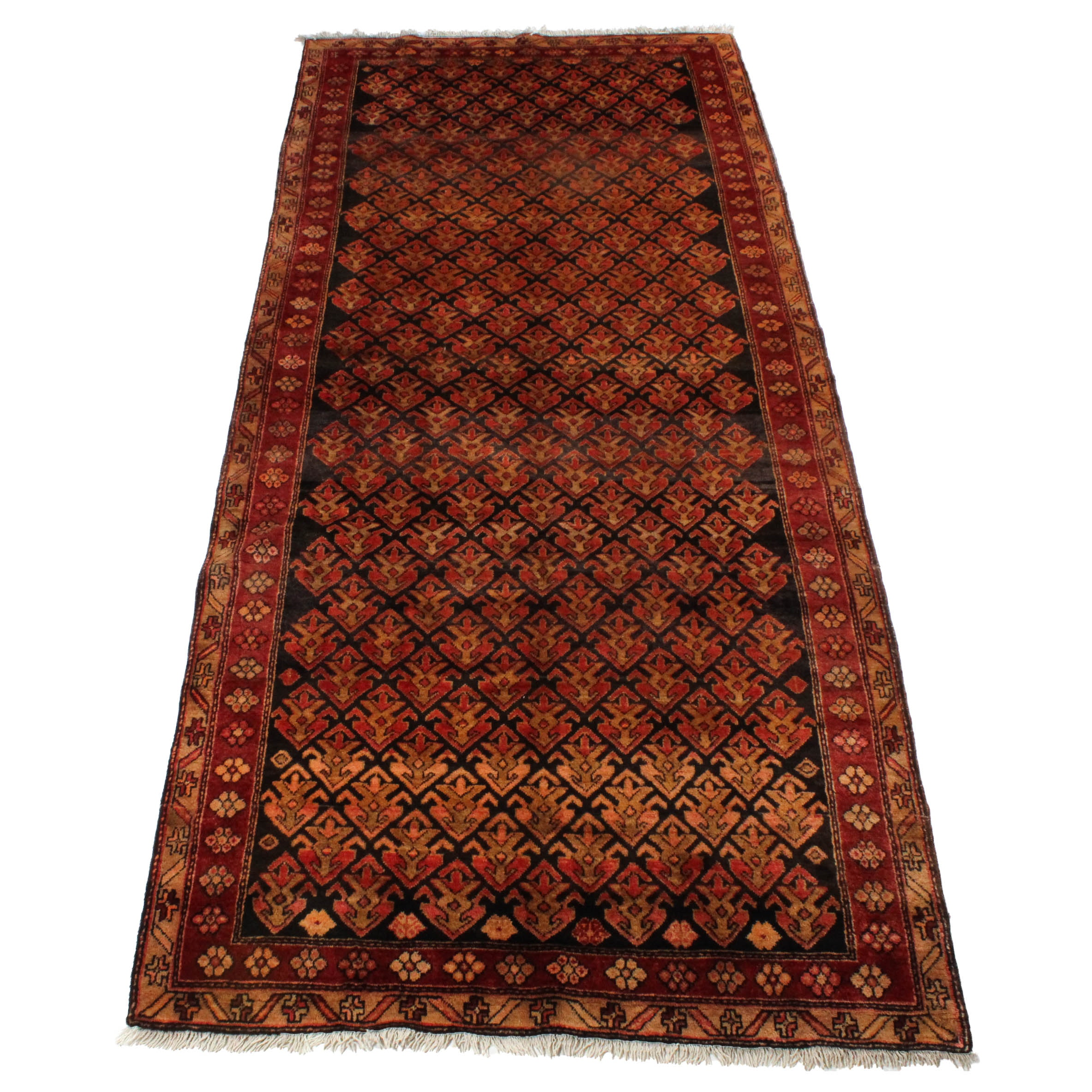 4'5 x 10'8 Semi-Antique Hand-Knotted Northwest Persian Runner
