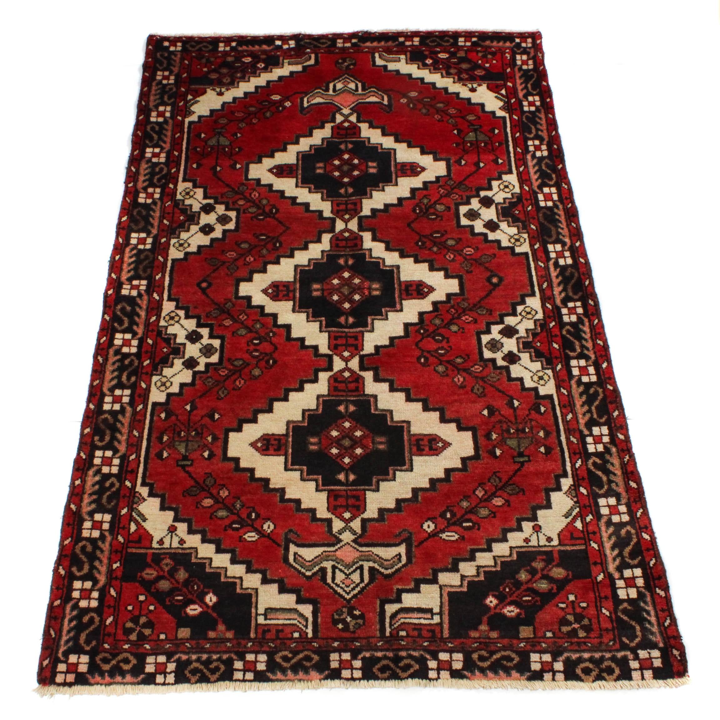 3'11 x 6'5 Semi-Antique Hand-Knotted Persian Zanjan Rug