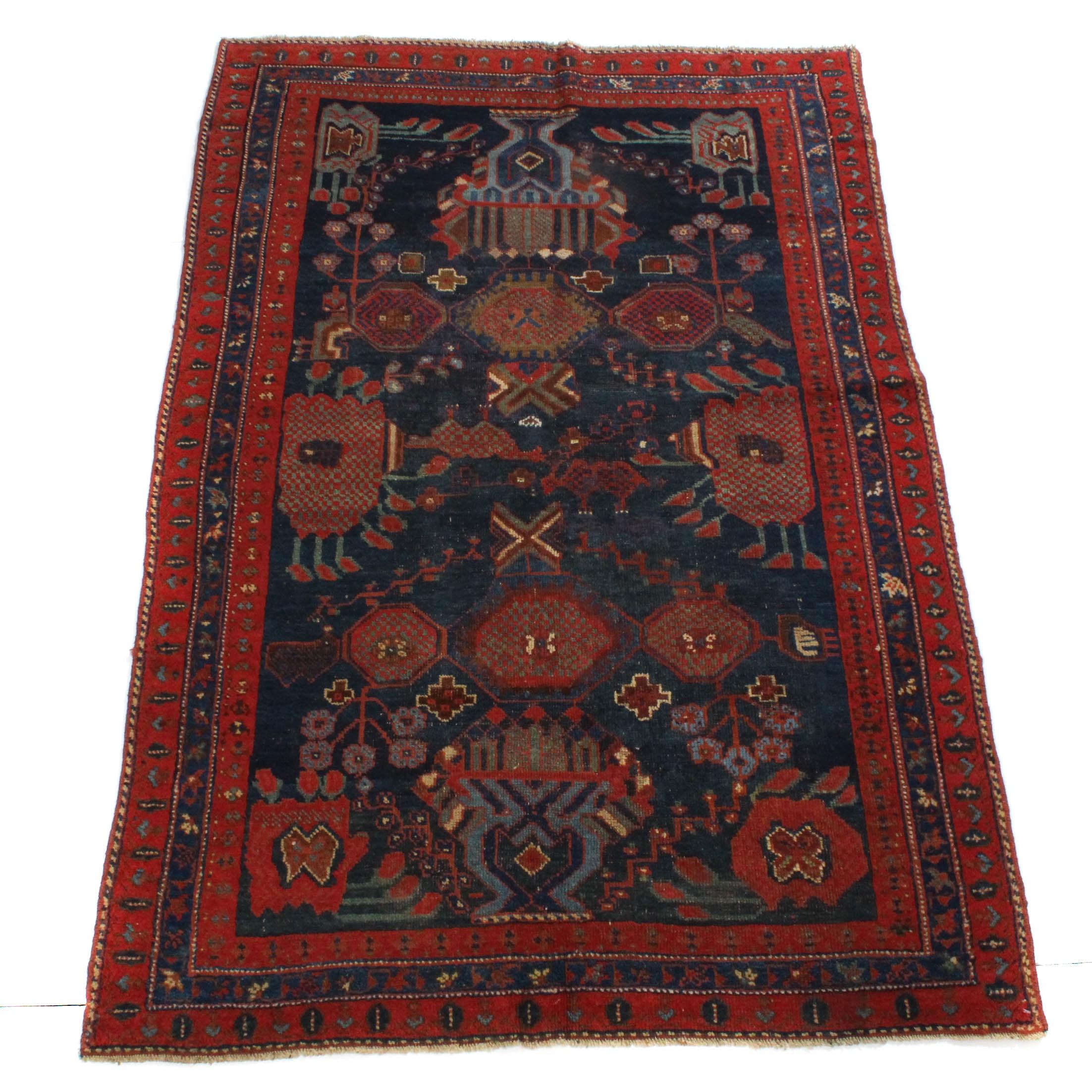3'7 x 5'10 Antique Hand-Knotted Persian Kurdish Caucasian Rug