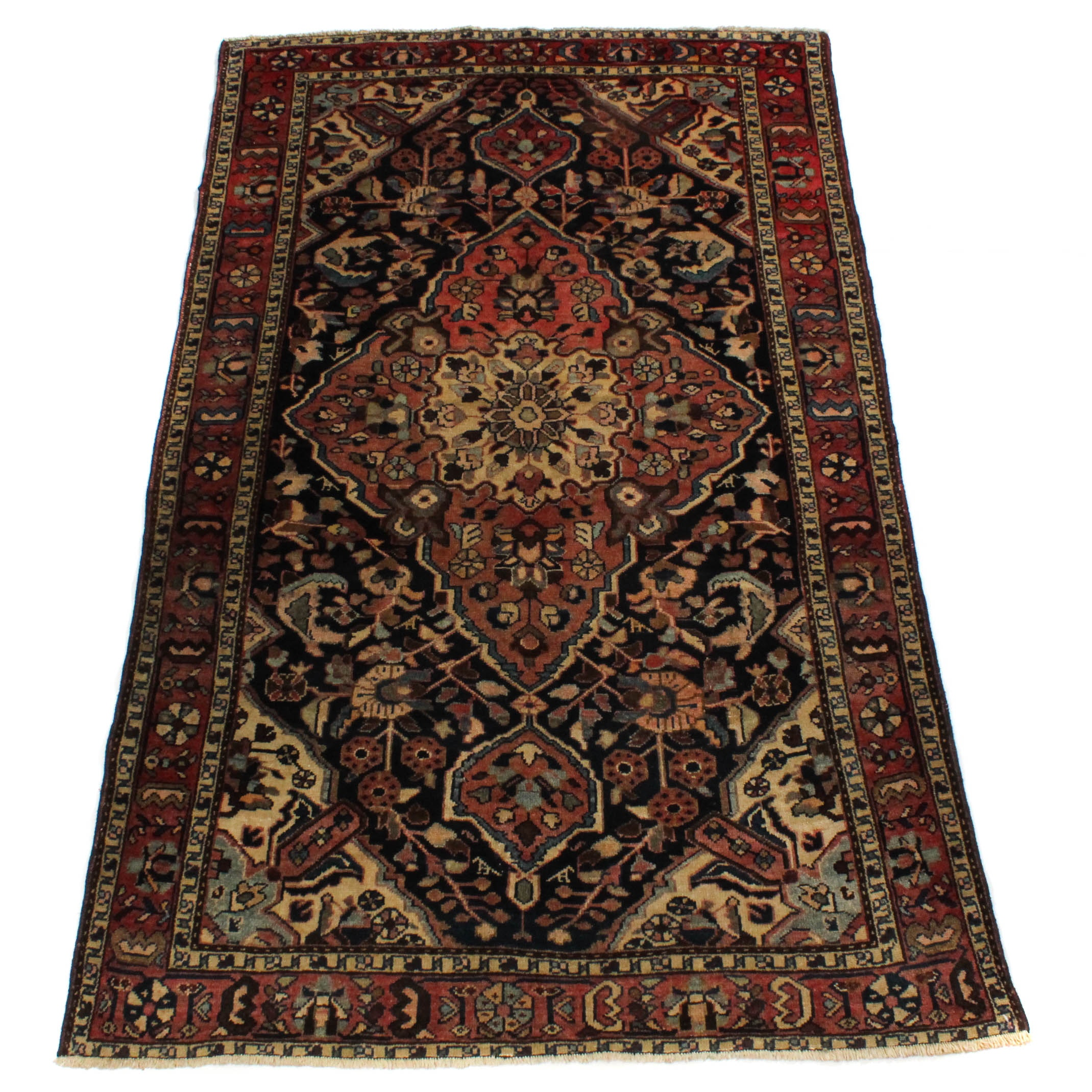 4'3 x 6'8 Semi-Antique Hand-Knotted Persian Malayer Rug