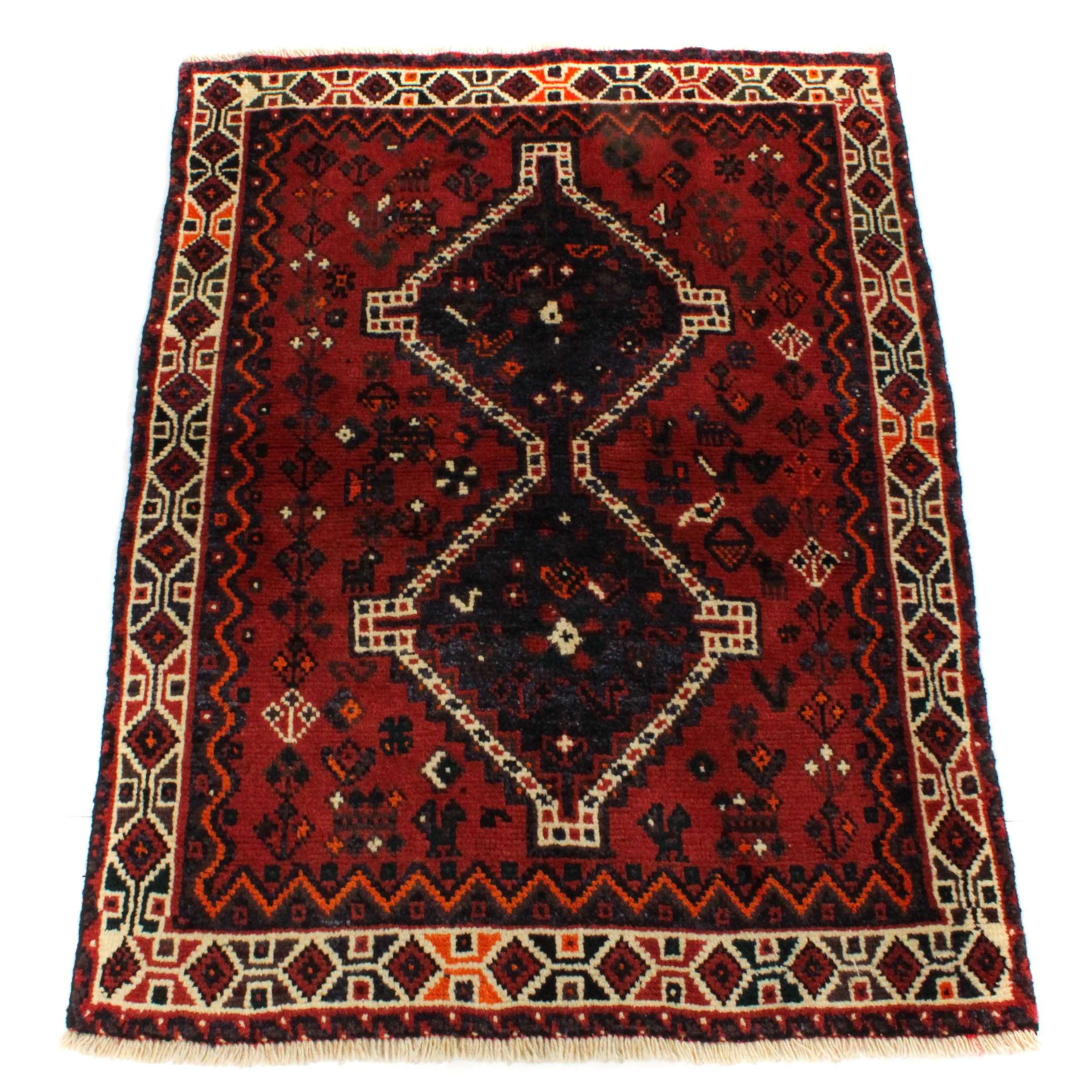3'4 x 4'9 Semi-Antique Hand-Knotted Persian Shiraz Rug