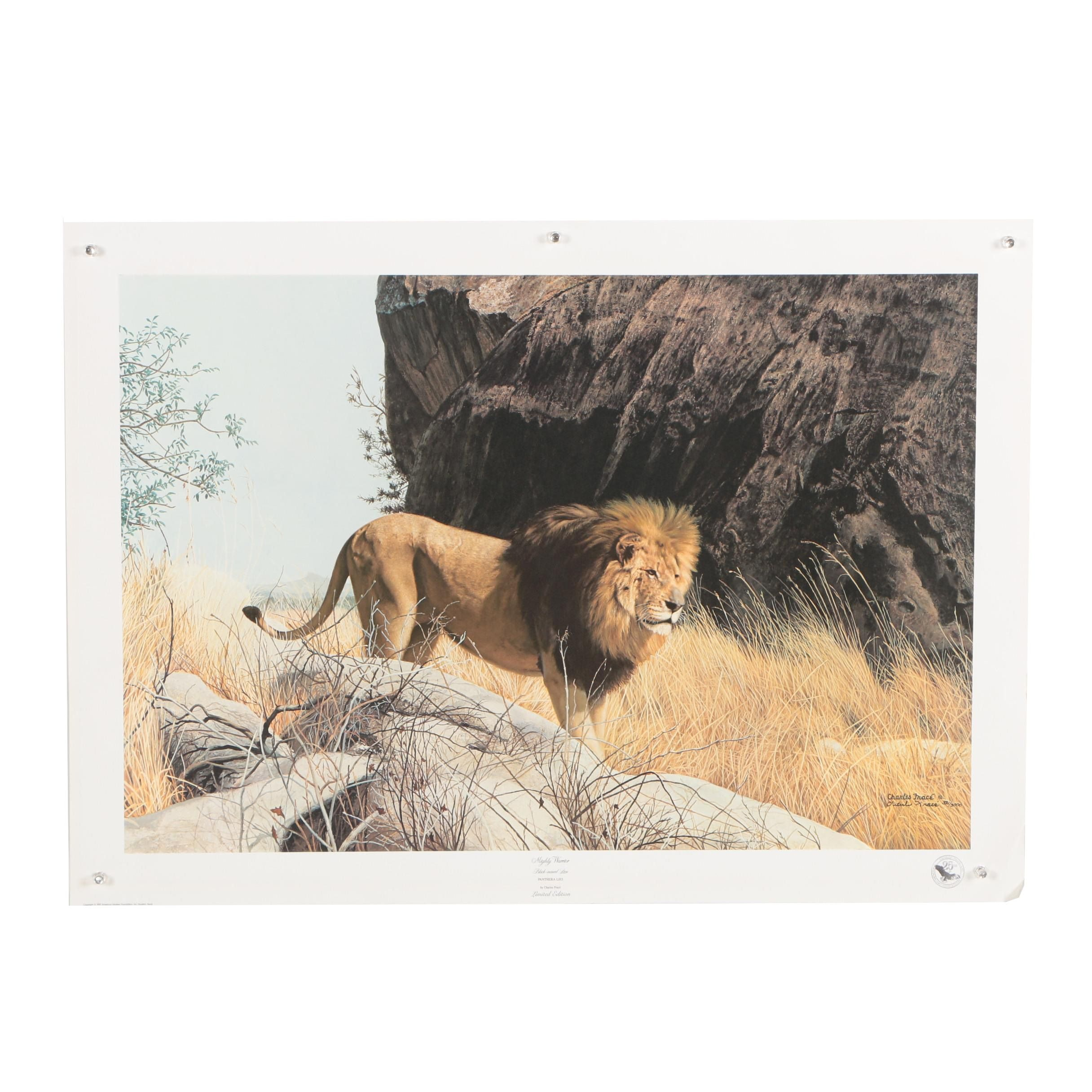 """Charles Frace' Offset Lithograph """"Mighty Warrior Black-maned Lion"""""""