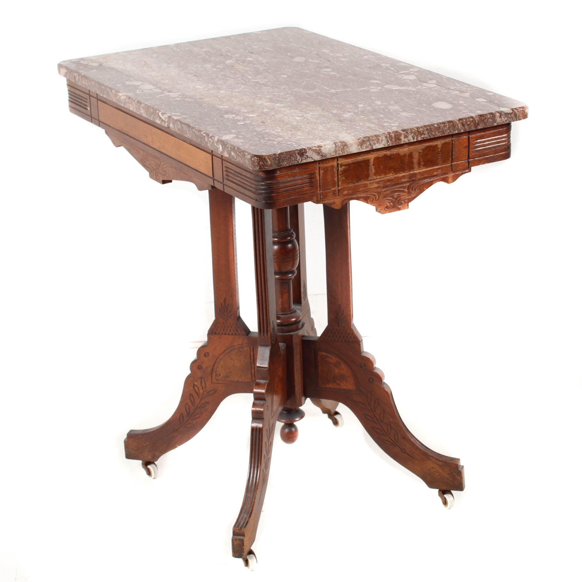 Antique Eastlake Walnut Accent Table with Marble Top
