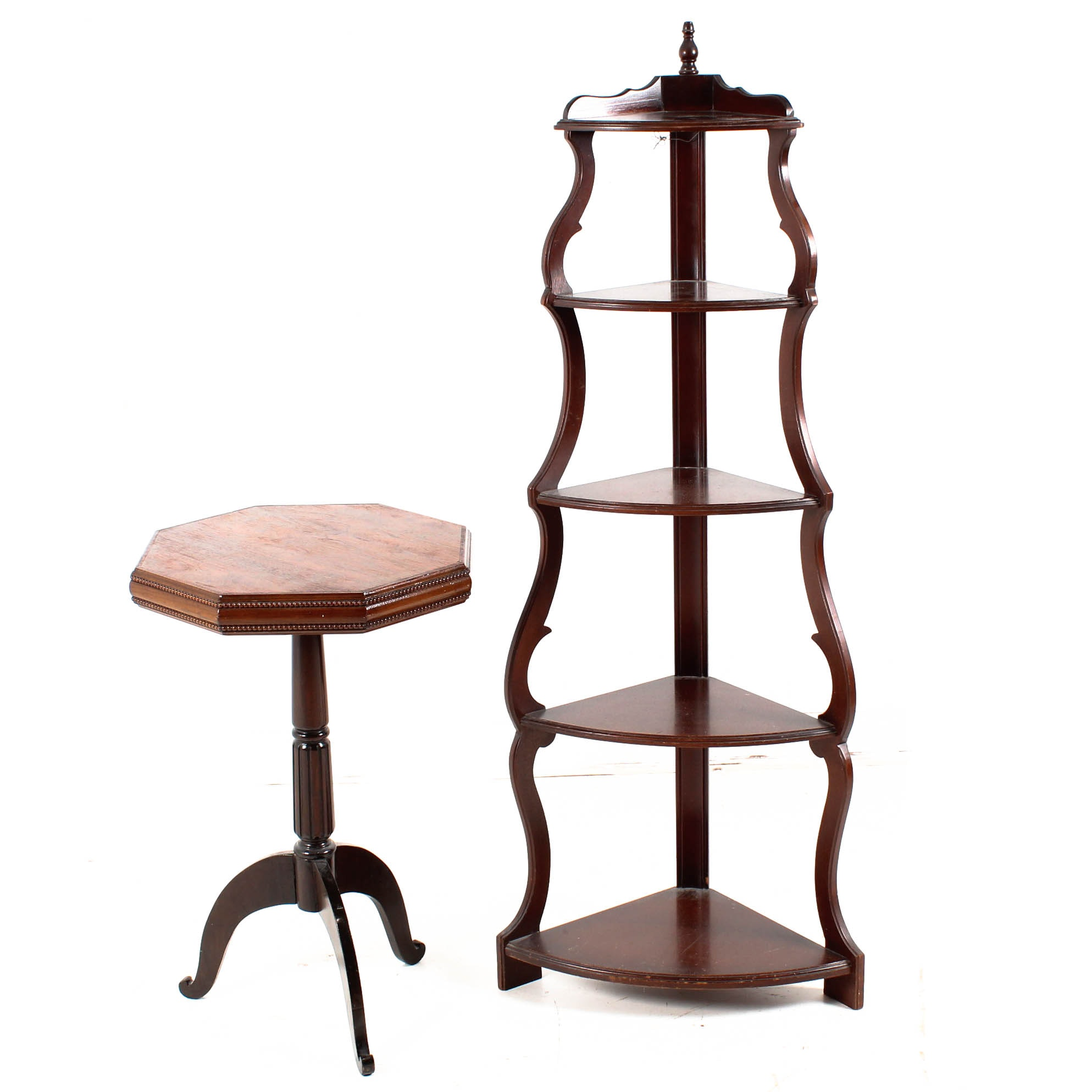 Vintage Mahogany Curio Shelf and Plant Stand