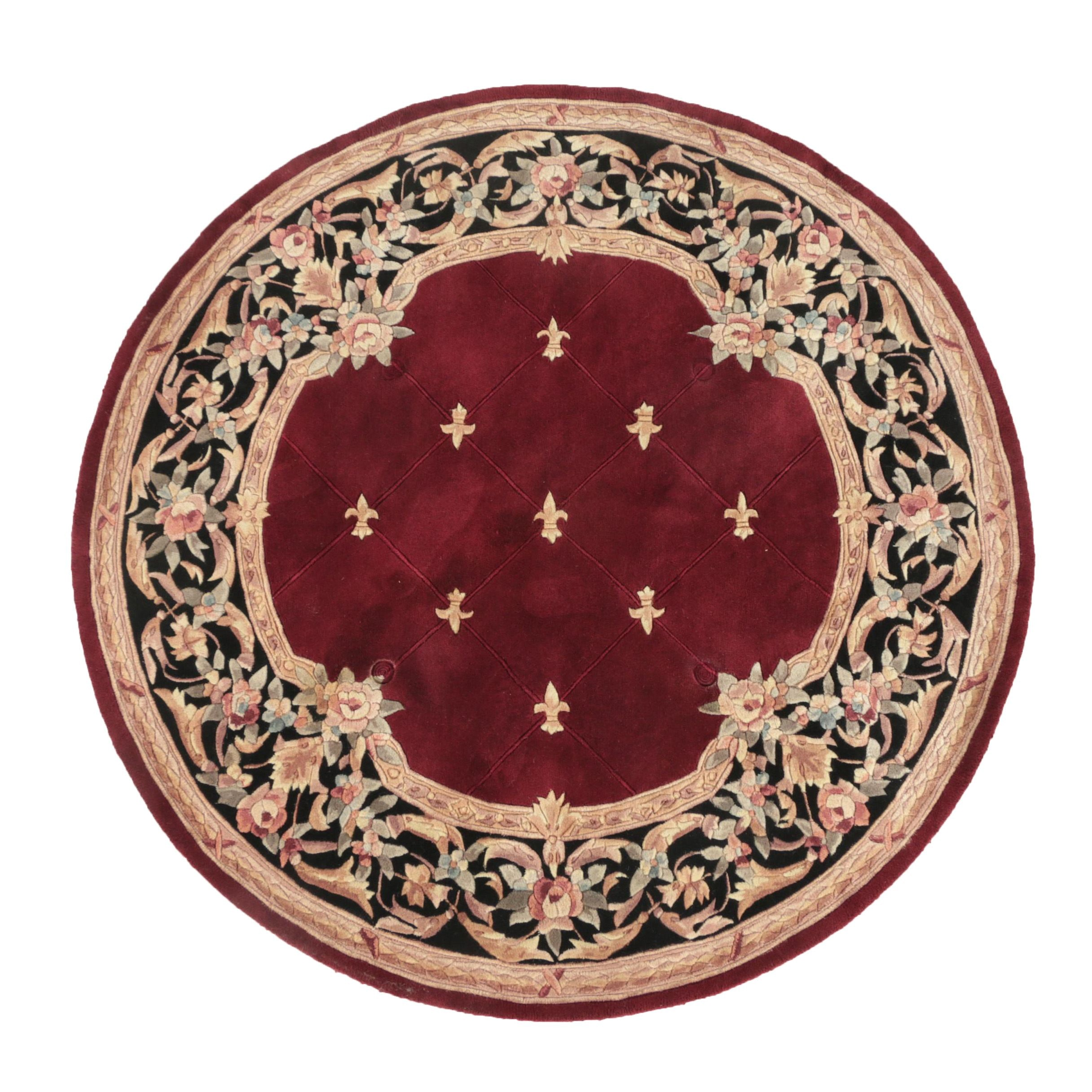 "Hand-Tufted Chinese ""Fleur De Lis"" Carved Wool Round Area Rug by Royal Palace"