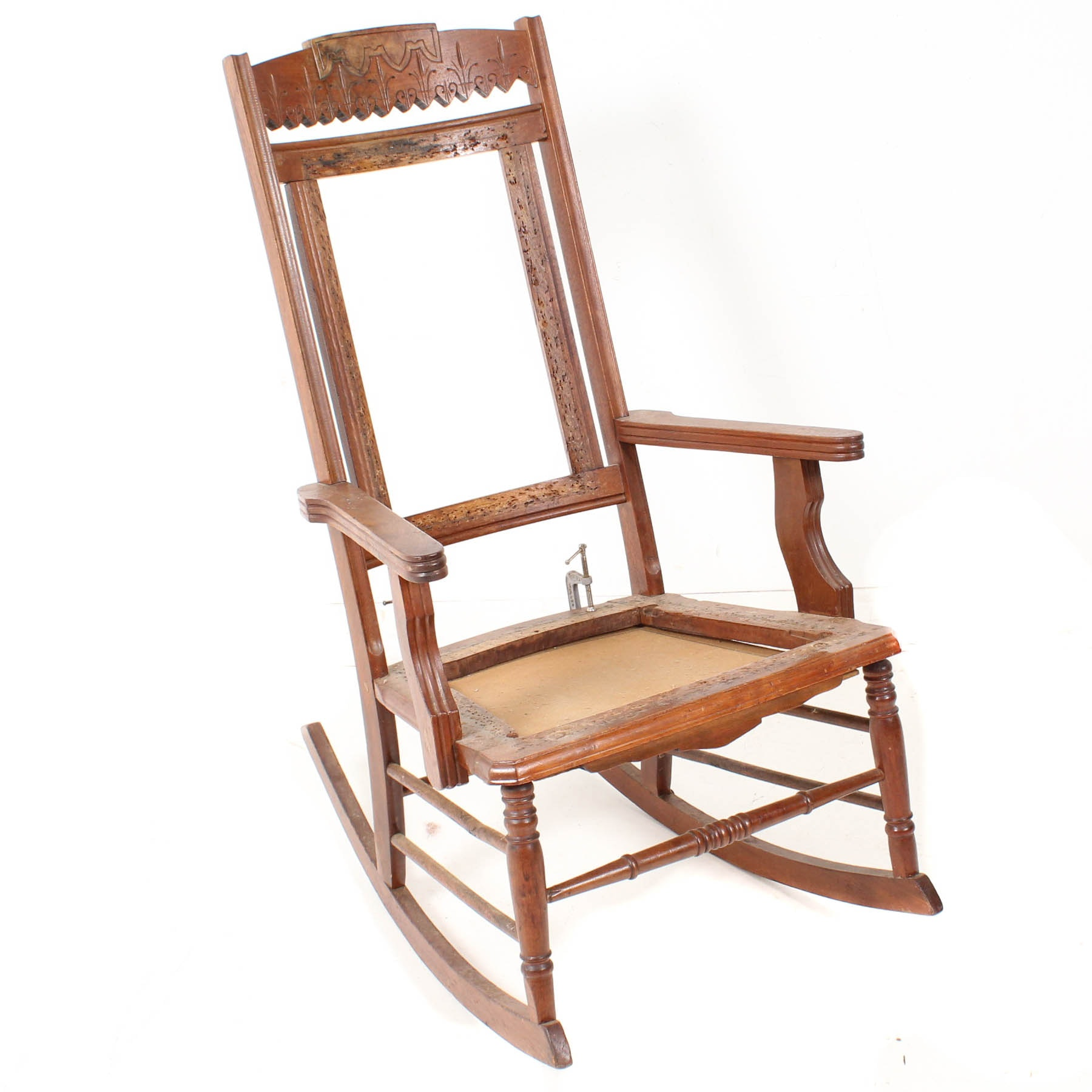 Eastlake Walnut Rocking Chair Frame