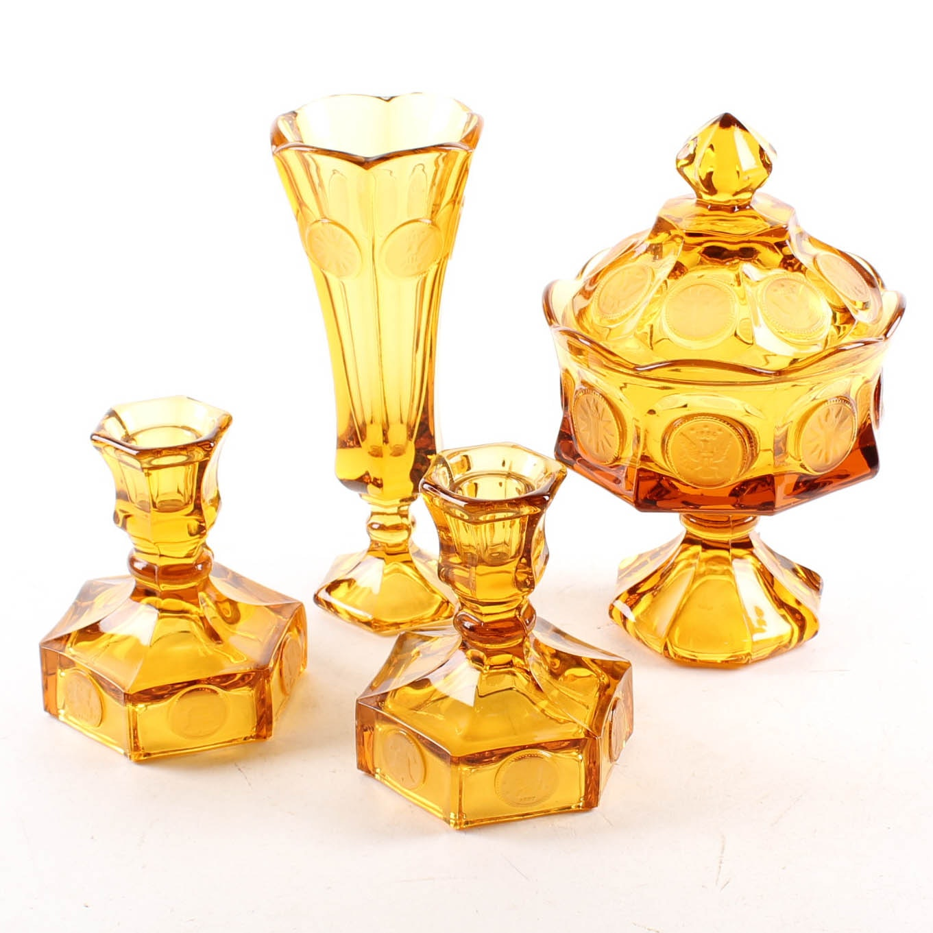 "Fostoria Amber ""Coin Glass"" Collection"