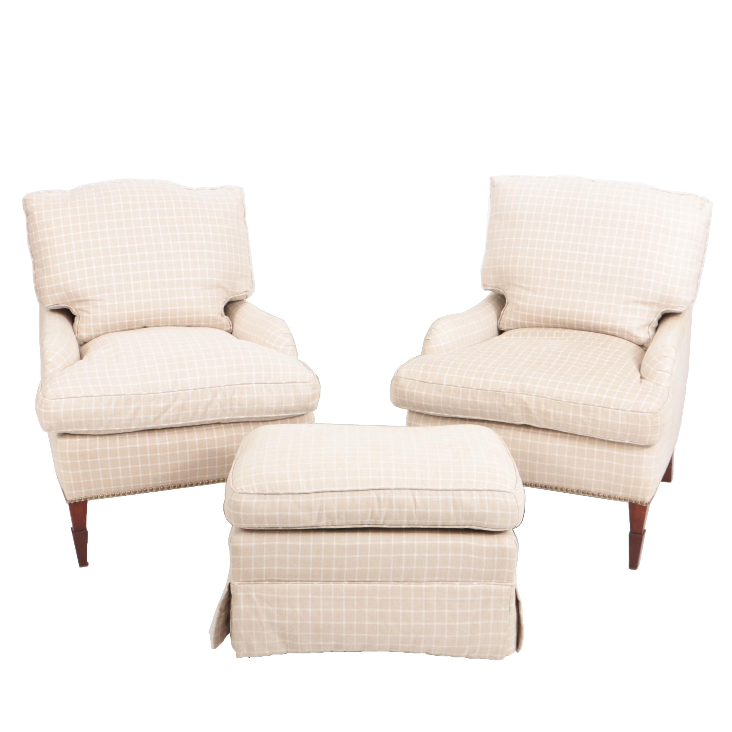 Custom-Upholstered Easy Chairs with Ottoman