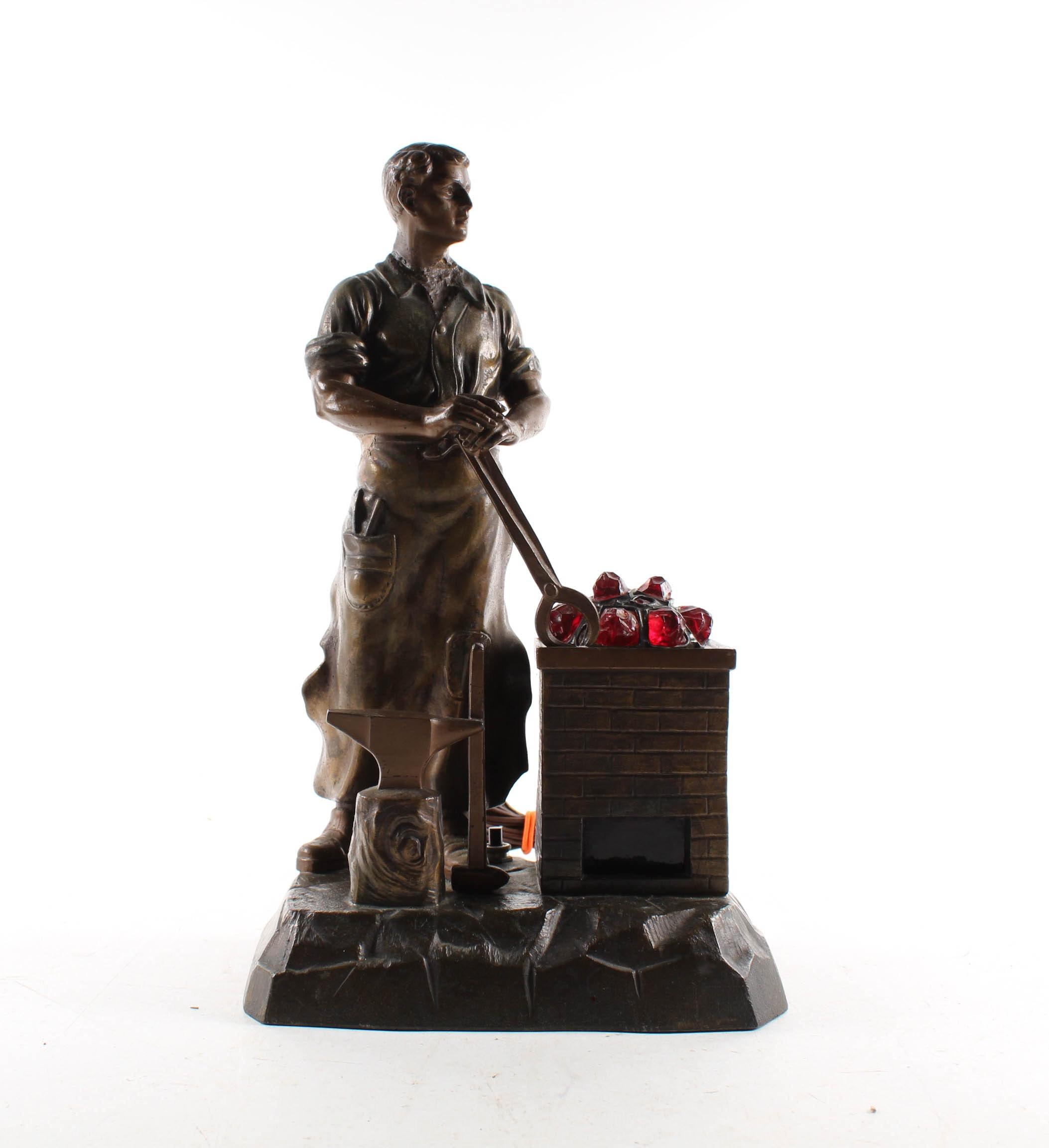 Bronze and Spelter Sculptural Blacksmith Lamp