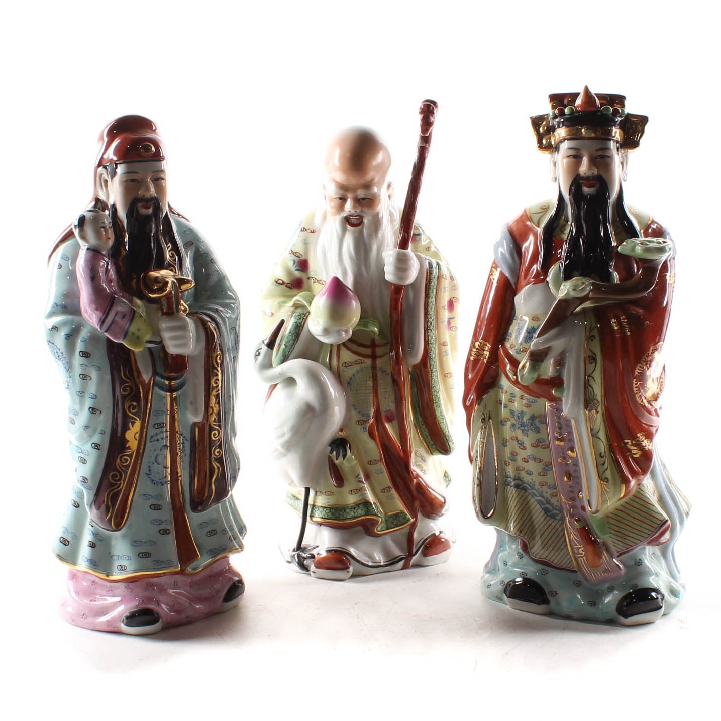 Chinese Sanxing Deities Porcelain Figurines