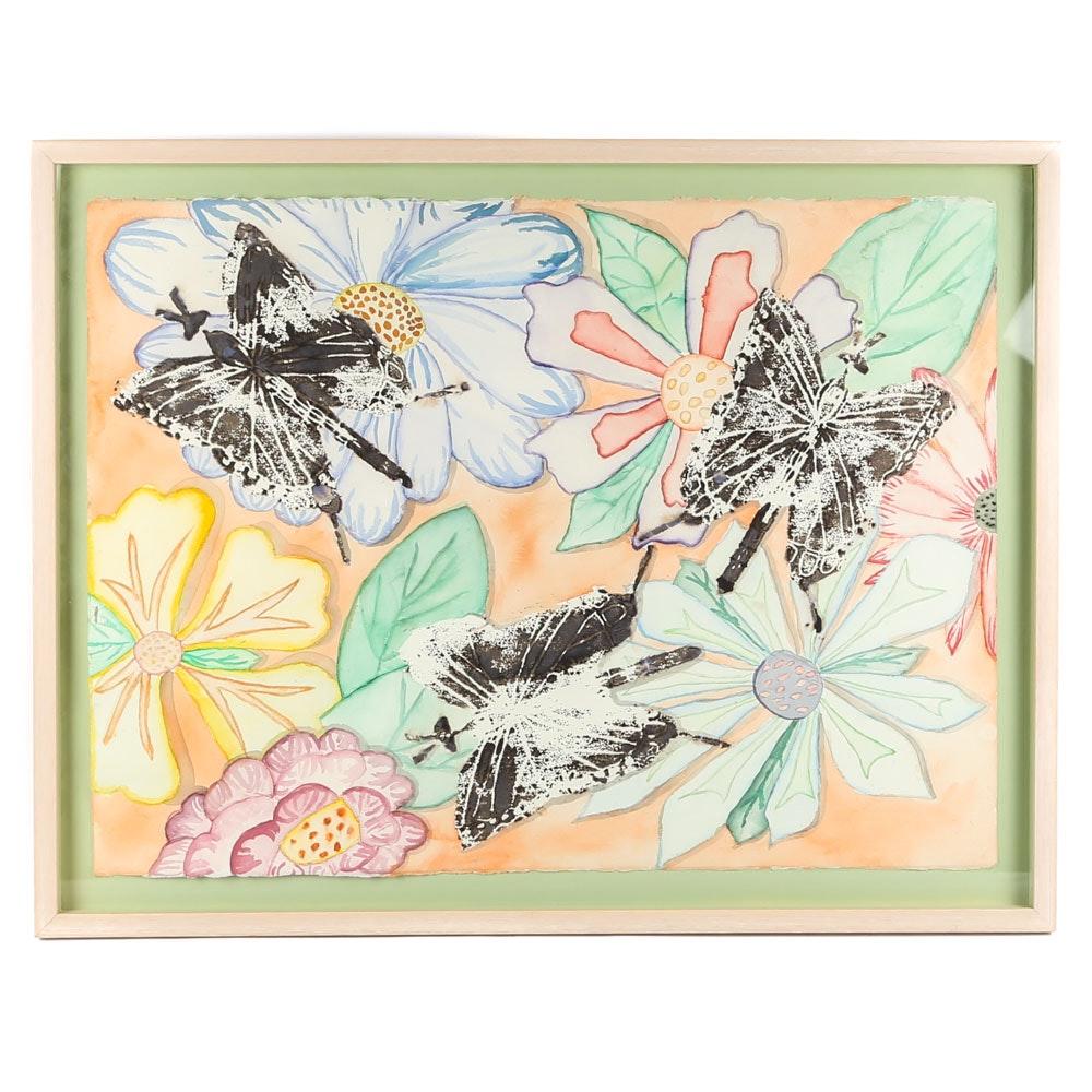 """Watercolor on Paper """"Butterflies & Flowers"""""""
