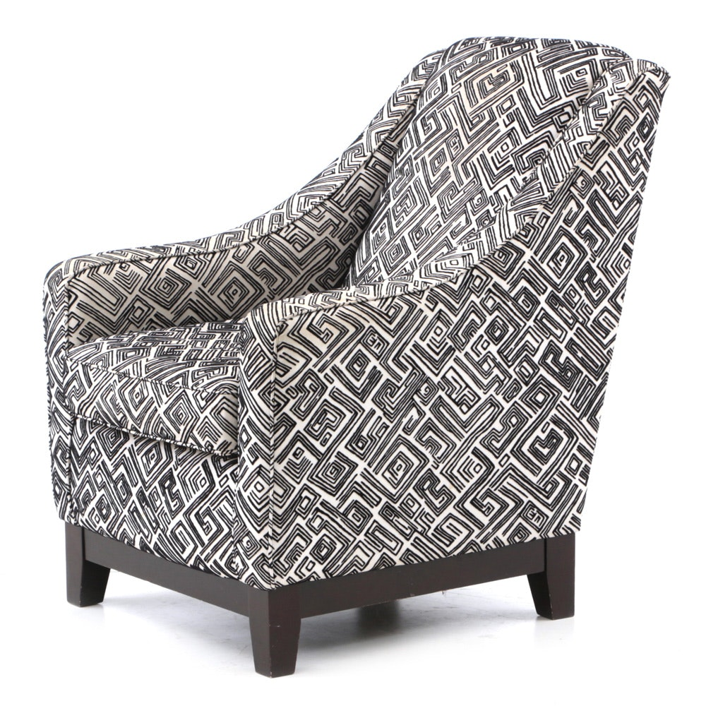 Black and White Geometric Pattern Club Chair