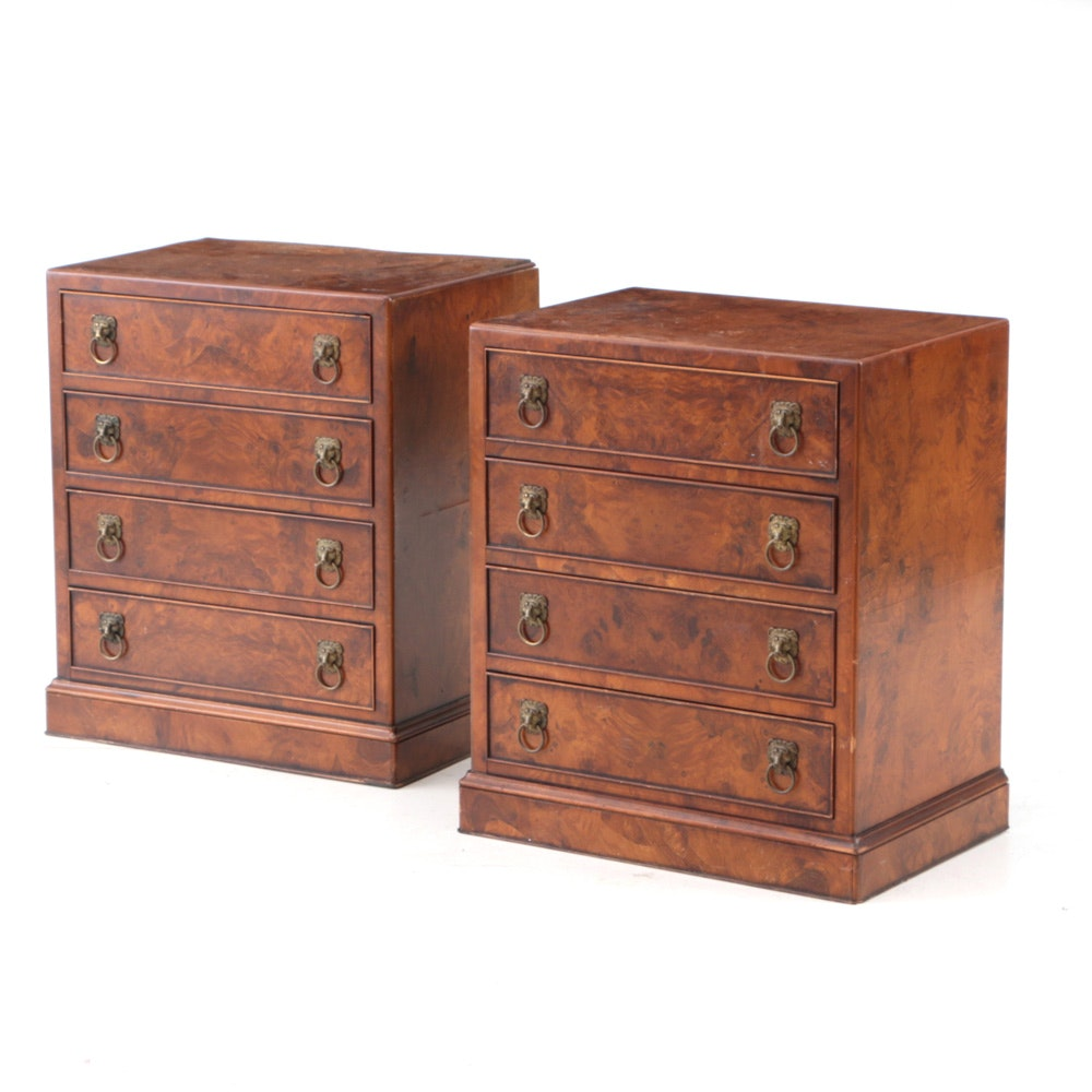 Pair of Small Burled Chest of Drawers with Lion-Mask Pulls