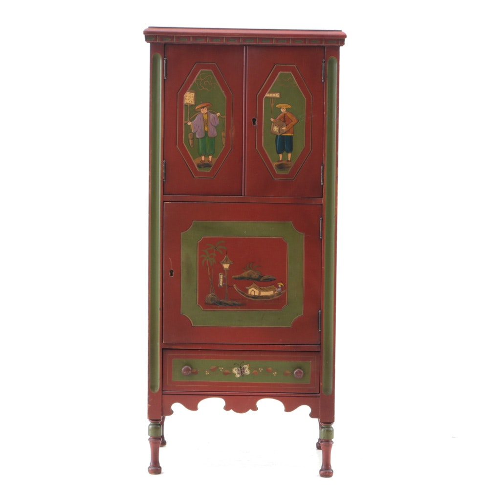 Vintage Chinese Inspired Painted Humidor Cabinet