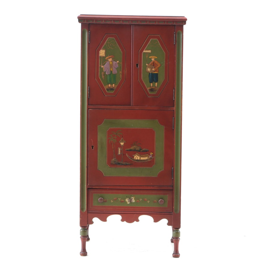 Vintage Chinese Inspired Painted Humidor Cabinet ... - Vintage Chinese Inspired Painted Humidor Cabinet : EBTH