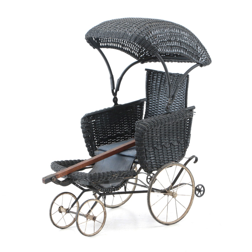 Antique Black Wicker Baby Carriage