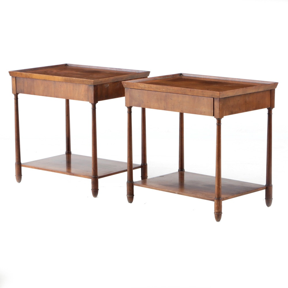 Pair of Walnut Italian Neoclassical Style End Tables by Baker