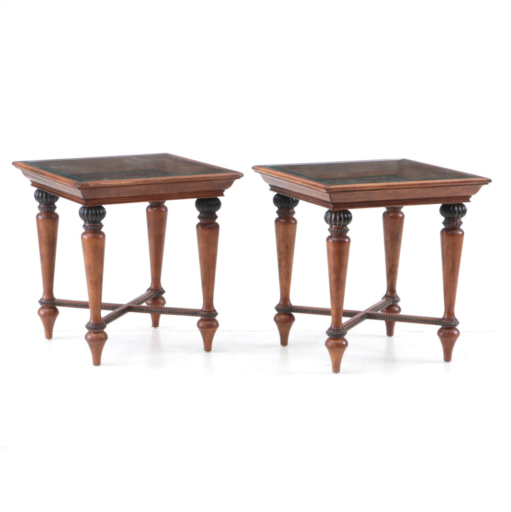 Pair of Glass Top End Tables