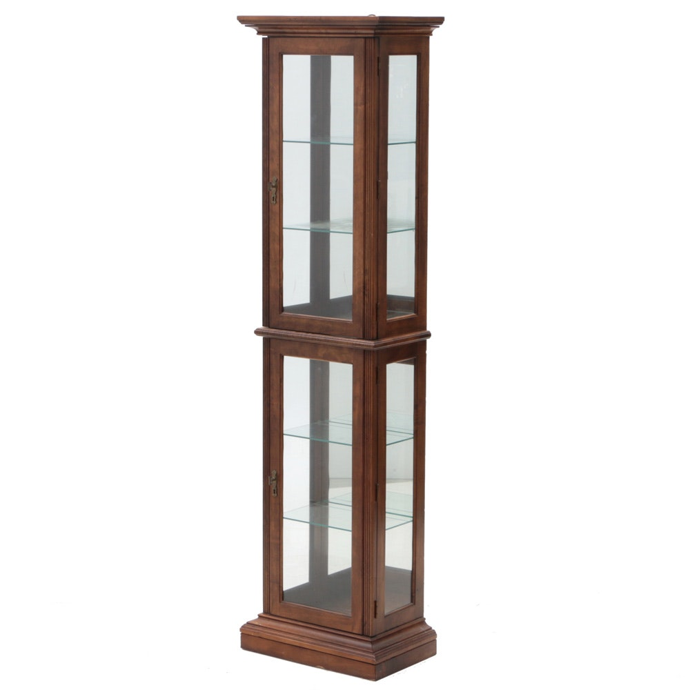 Contemporary Walnut and Glass Display Cabinet