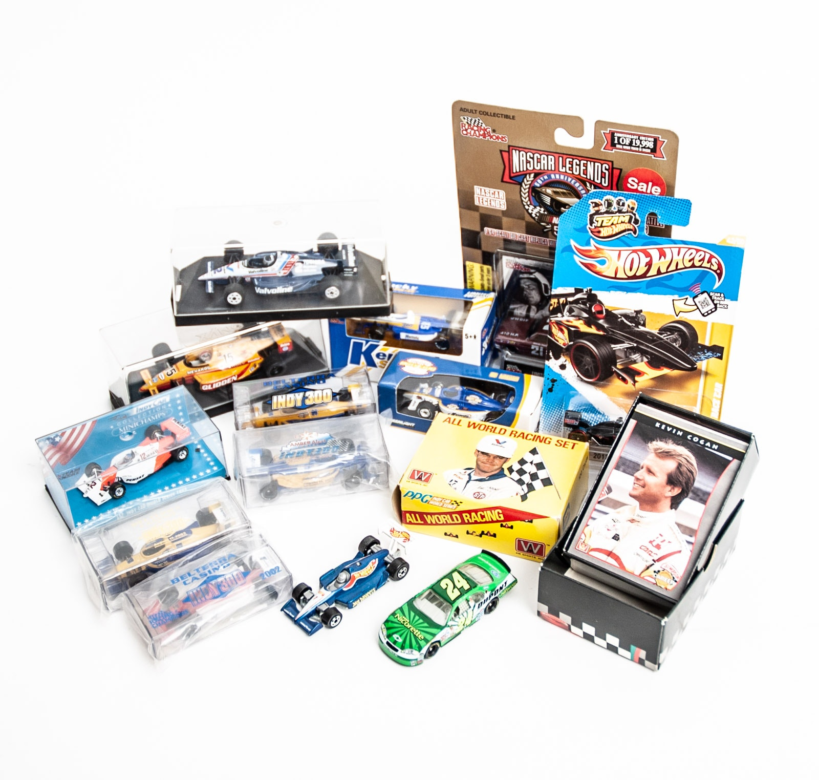 Auto Racing Memorabilia Including Cast Iron Cars and Trading Cards