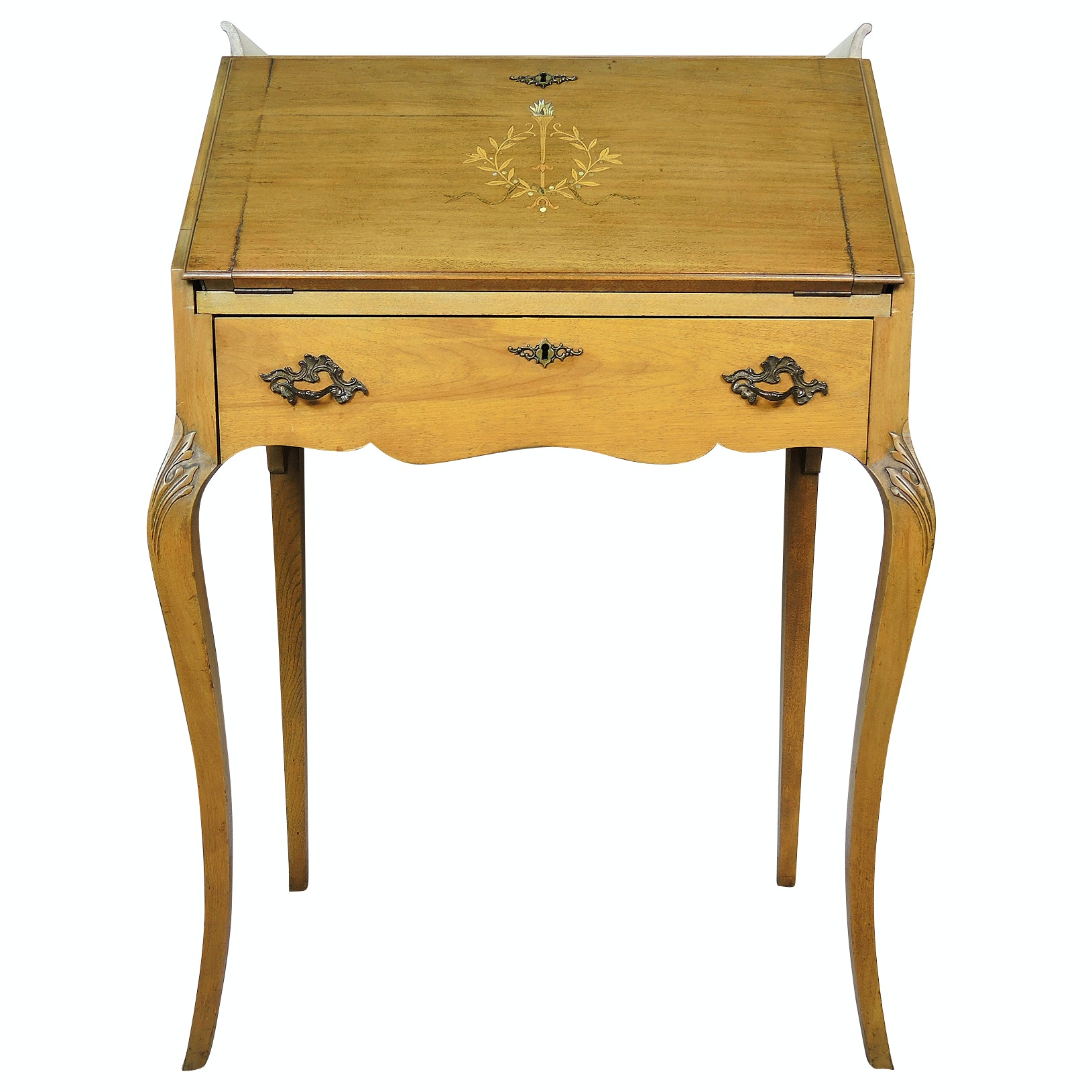 Louis XV Style Secretary Desk with Marquetry Inlay