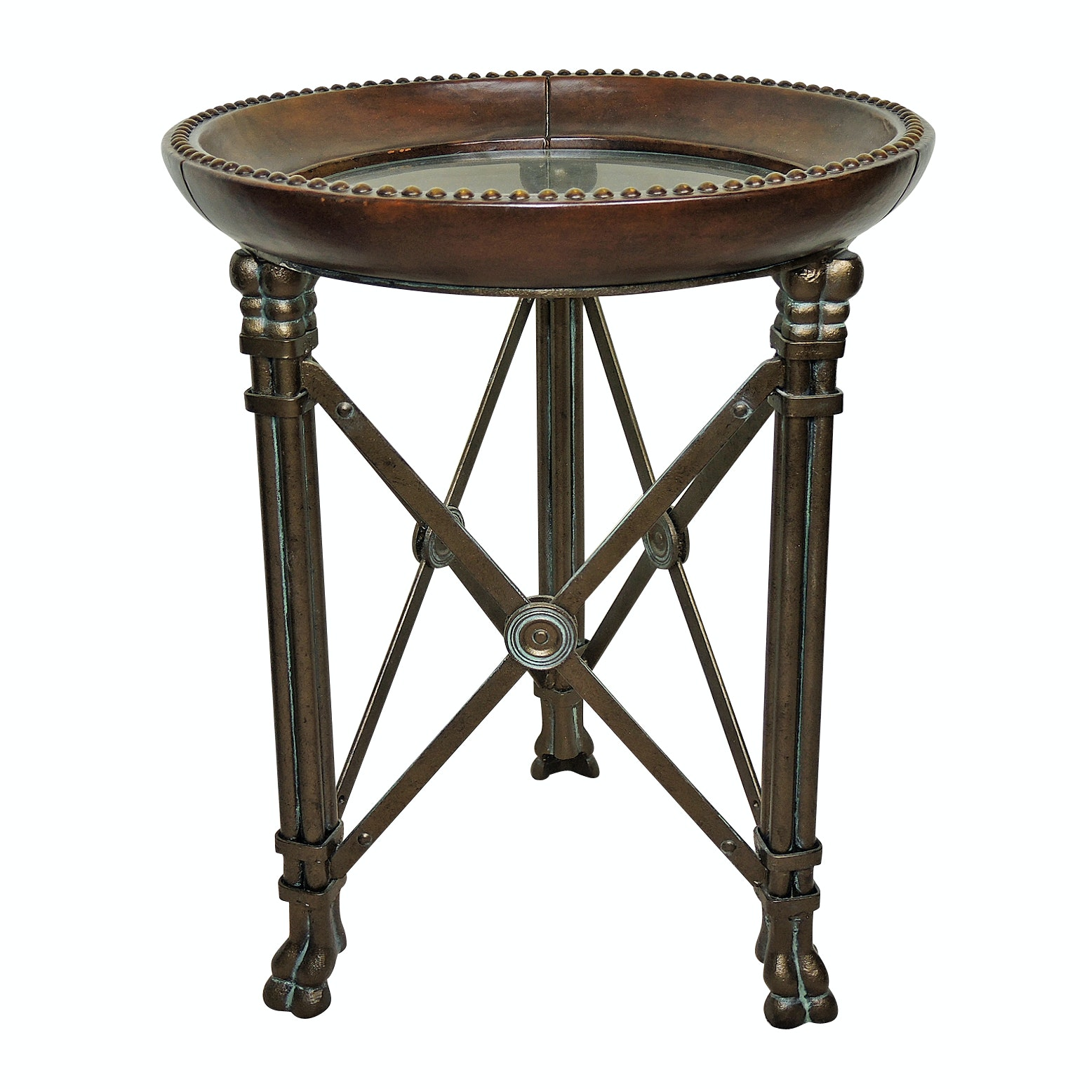 Leather and Glass Top Metal Accent Table