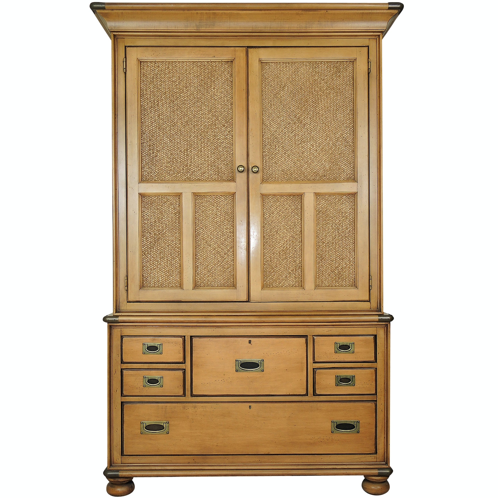 Macy's Wicker and Wood Wardrobe Armoire